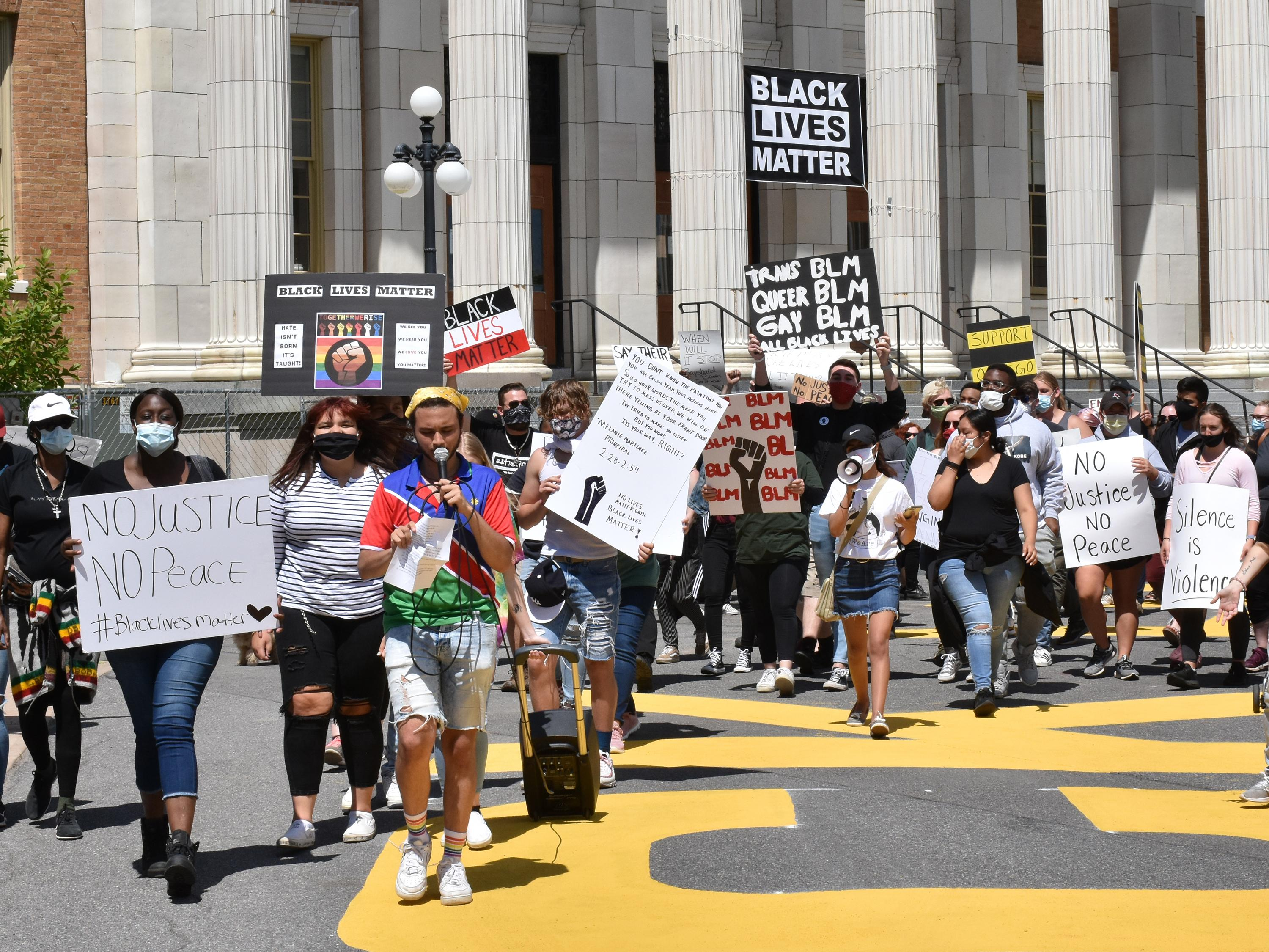 Students, faculty, staff and community members march in support of Black Lives Matter and reform