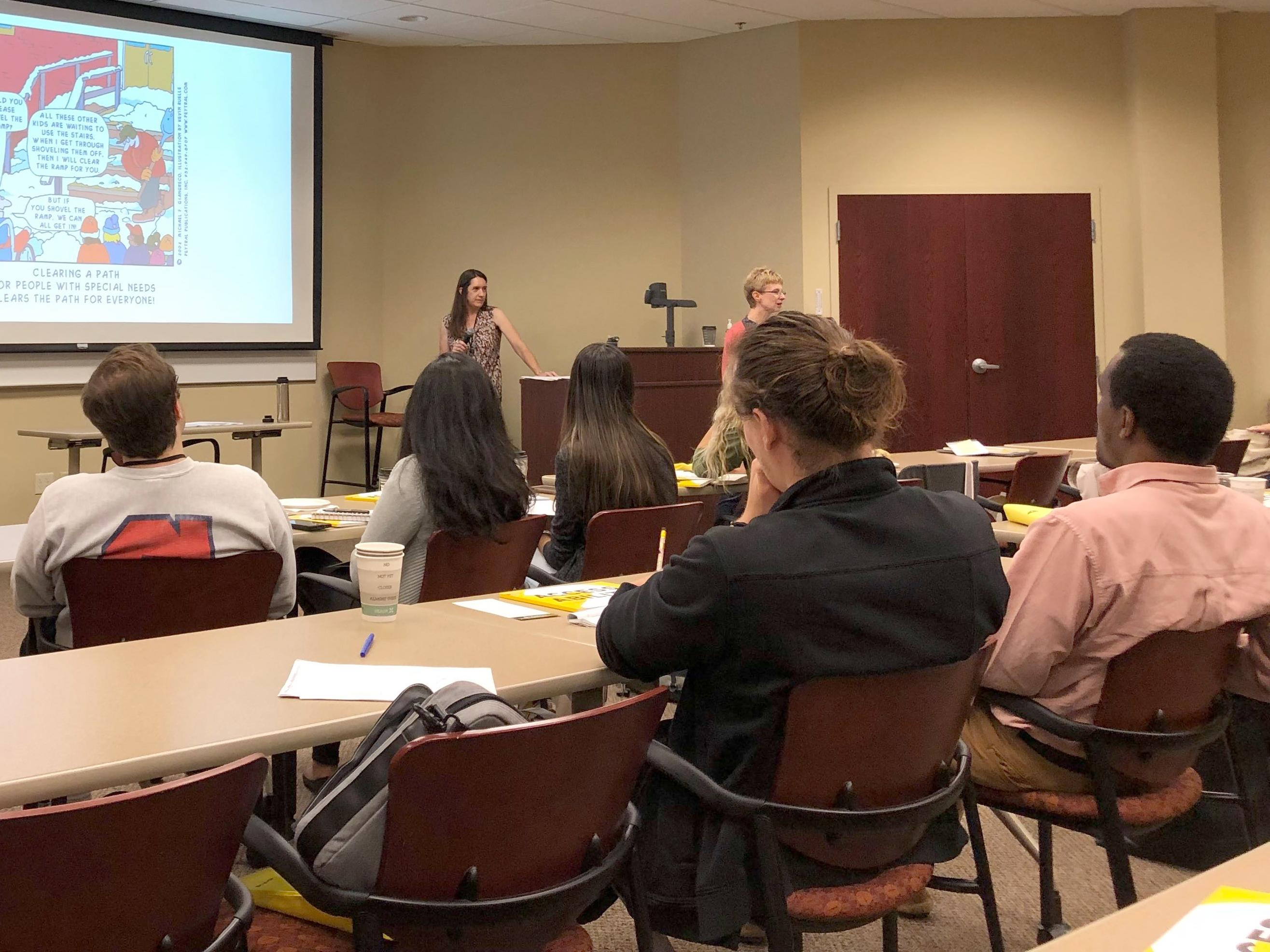 Kate Percival and Rebecca Mushtare lead an on-campus accessibility workshop