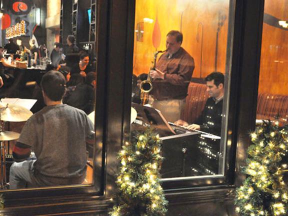 Oswego Jazz Project playing in downtown Oswego
