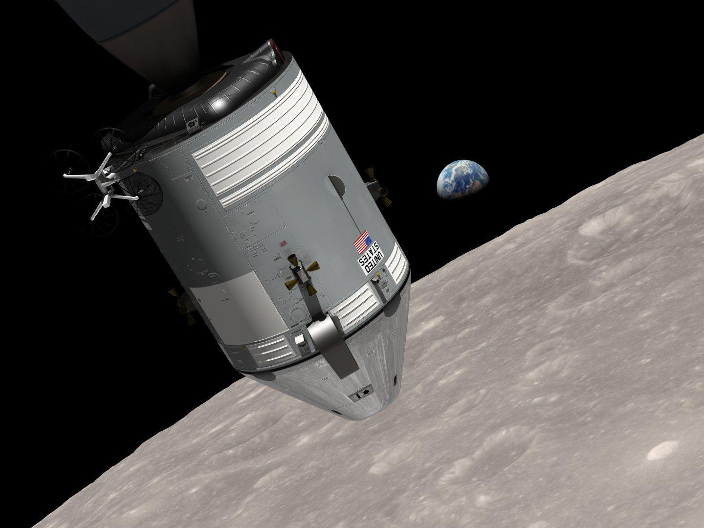 NASA animation of 1968 space journey of Apollo 8 spacecraft