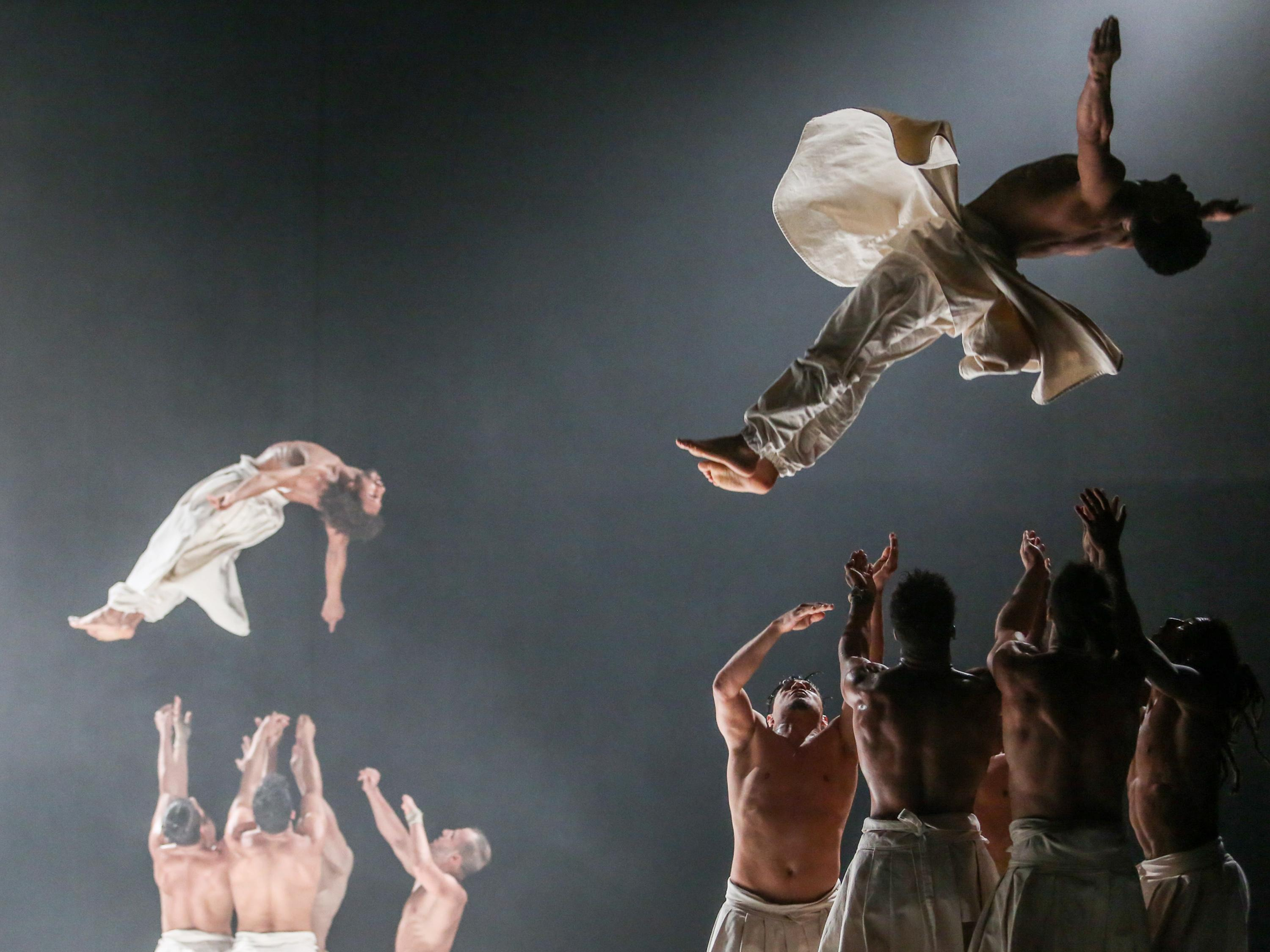 Cie Herve KOUBI, shown with two of its members soaring above the stage, is a high-energy 13-man dance troupe from Algeria and Burkina Faso will perform in February