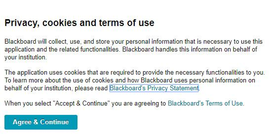 Privacy, cookies and terms of use: Blackboard will collect, use and store your personal information that is necessary to use this application and the related functionalities. See bottom of story for full alt text of image