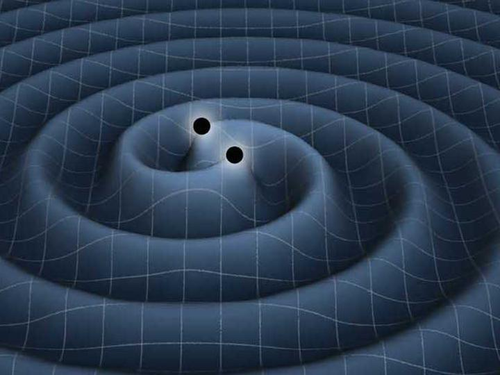 Illustration of gravitational waves around two black holes in space