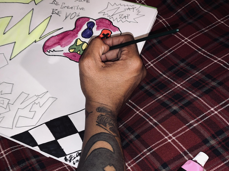 Bobbie Heard draws a design