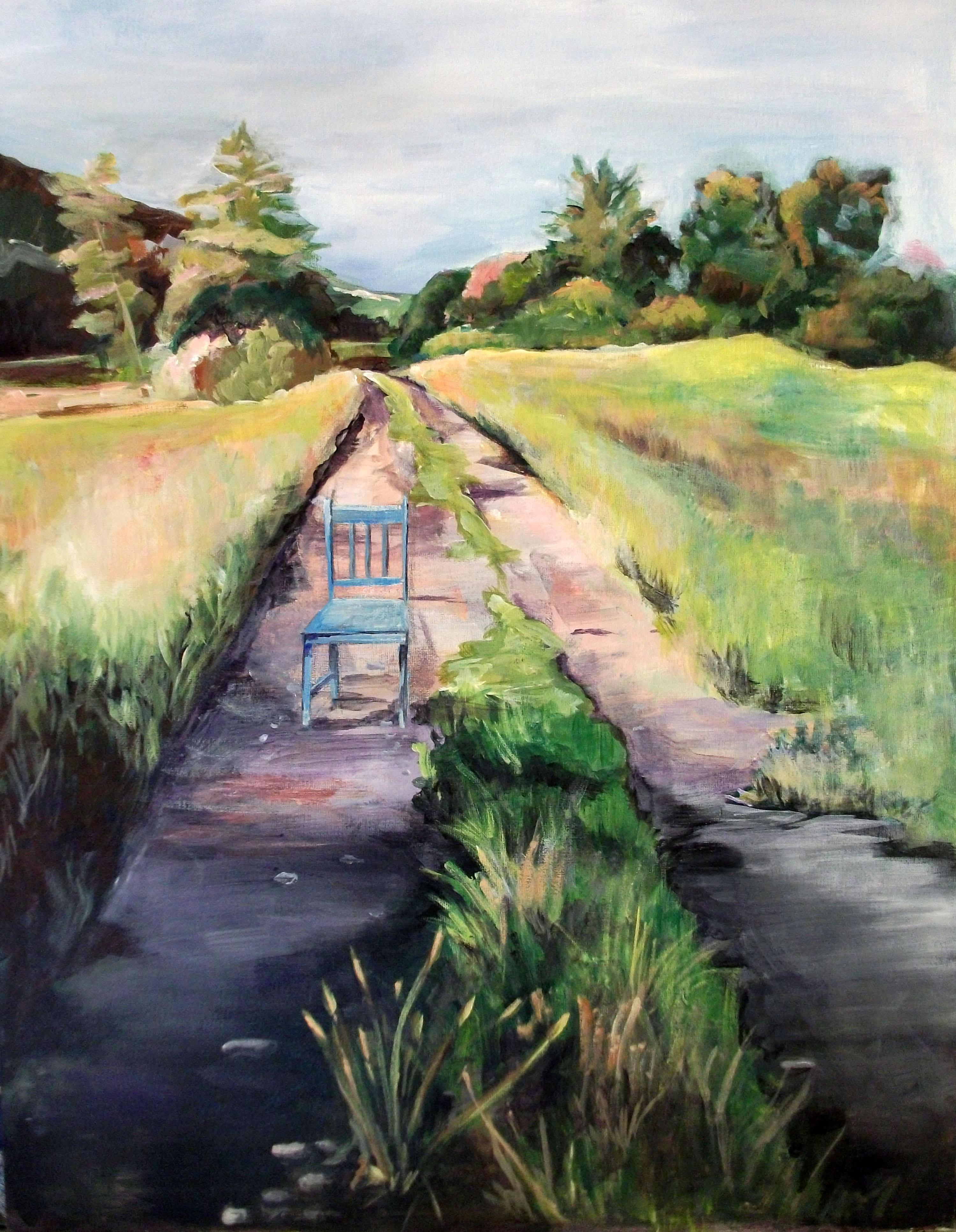 Painting showing ruts of a vehicle and a chair in a rural setting