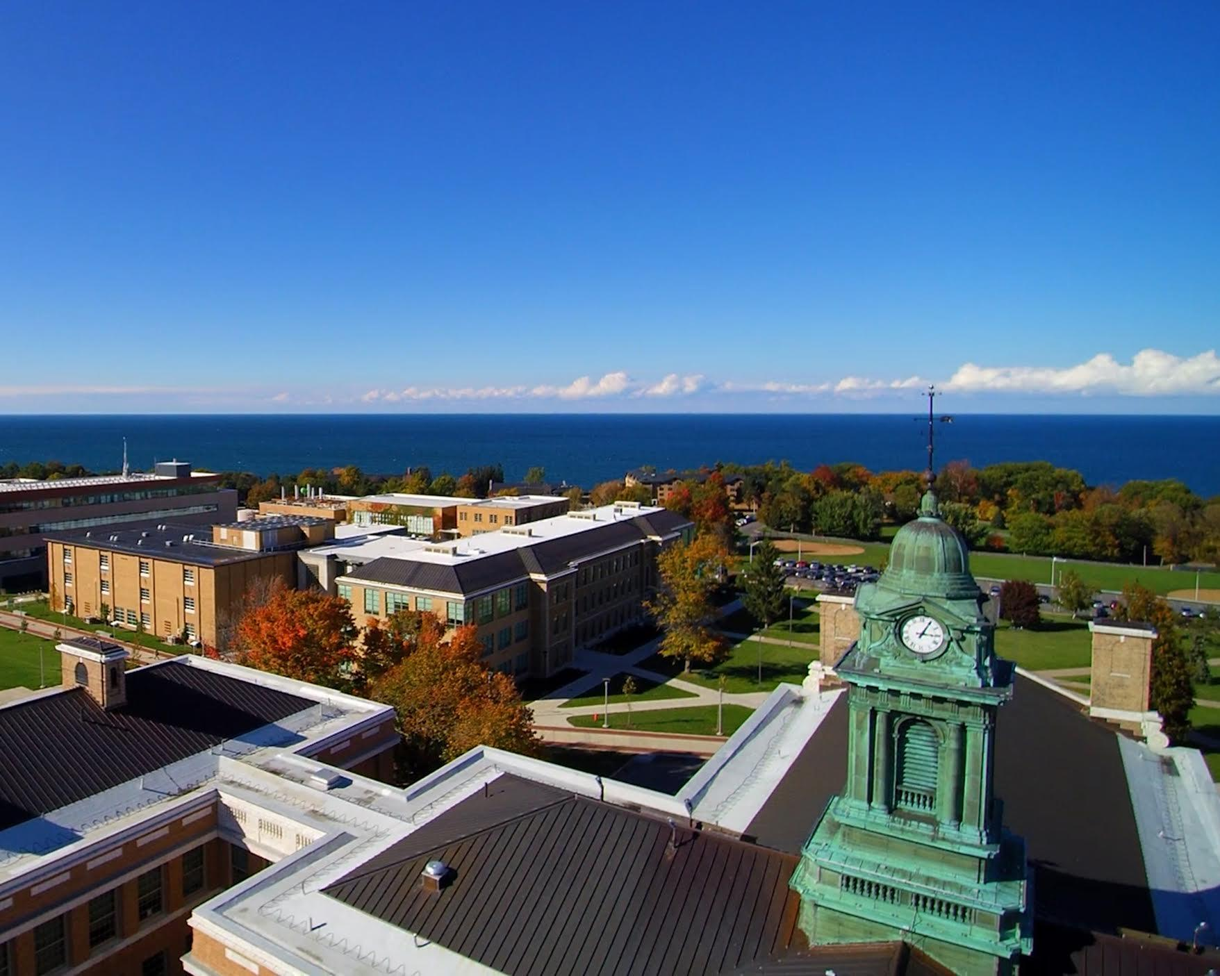 Aerial photo of SUNY Oswego campus overlooking Sheldon Hall