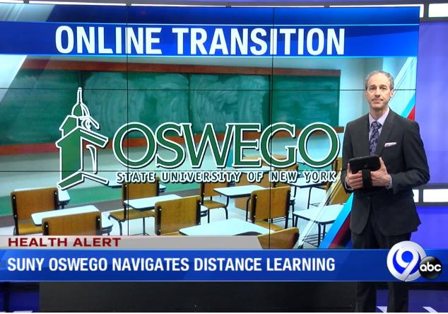 NewsChannel 9 segment features Oswego's preparation for distance learning.