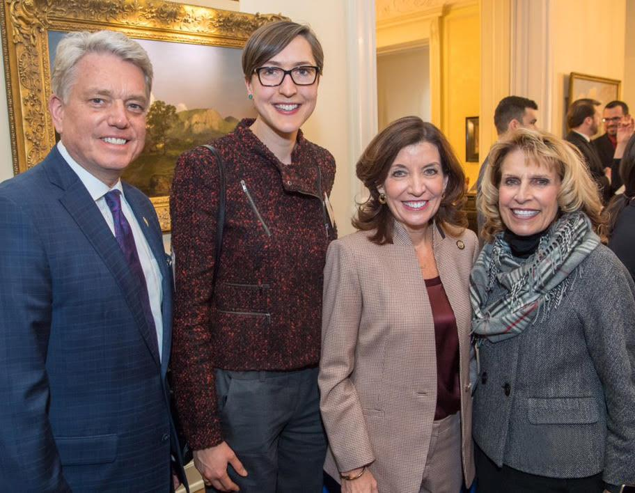 (Left to right) Brian Stratton, director of the New York State Canal Corporation; Kristi Eck, SUNY Oswego chief of staff; Lieutenant Governor Kathy Hochul; and SUNY Oswego President Deborah F. Stanley gather at a reception held in the Governor's Executive