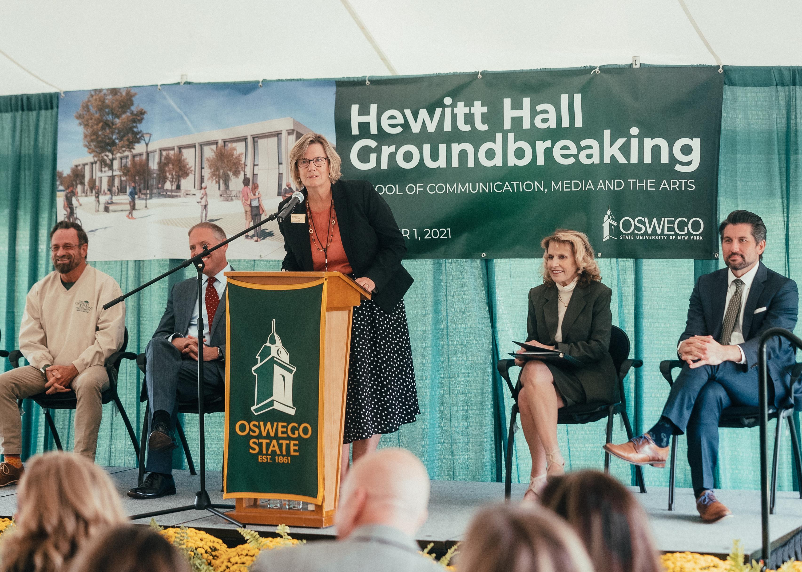 School of Communication, Media and the Arts Dean Julie Pretzat speaks at Hewitt groundbreaking
