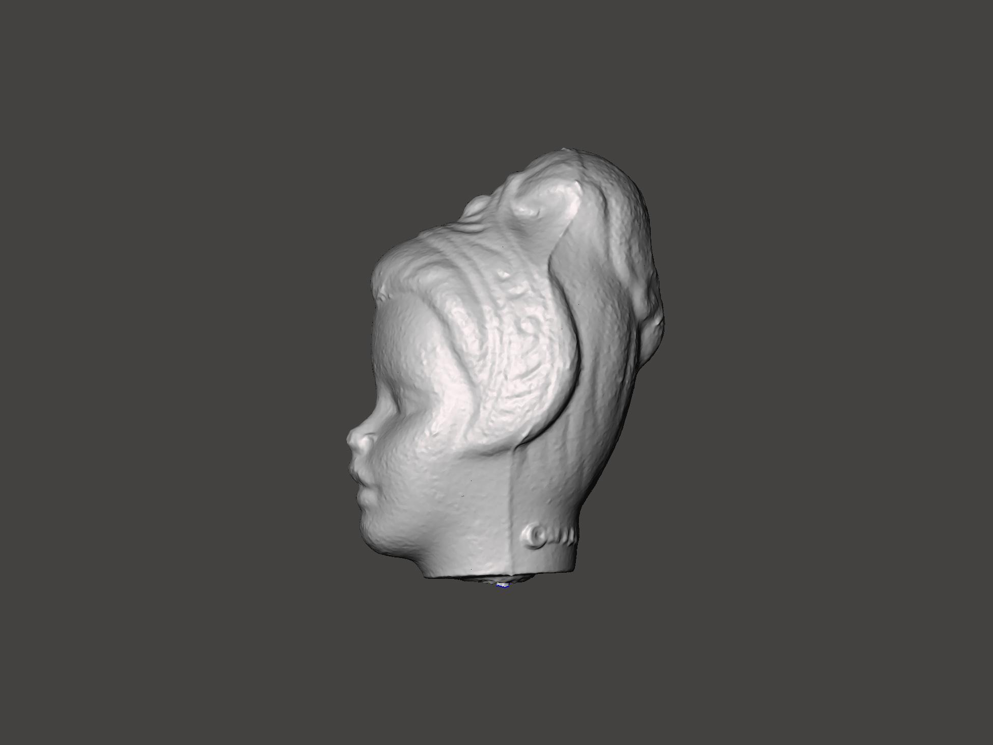 Benjamin Entner sculpture of a head resembling ruins of Greco-Roman sculpture
