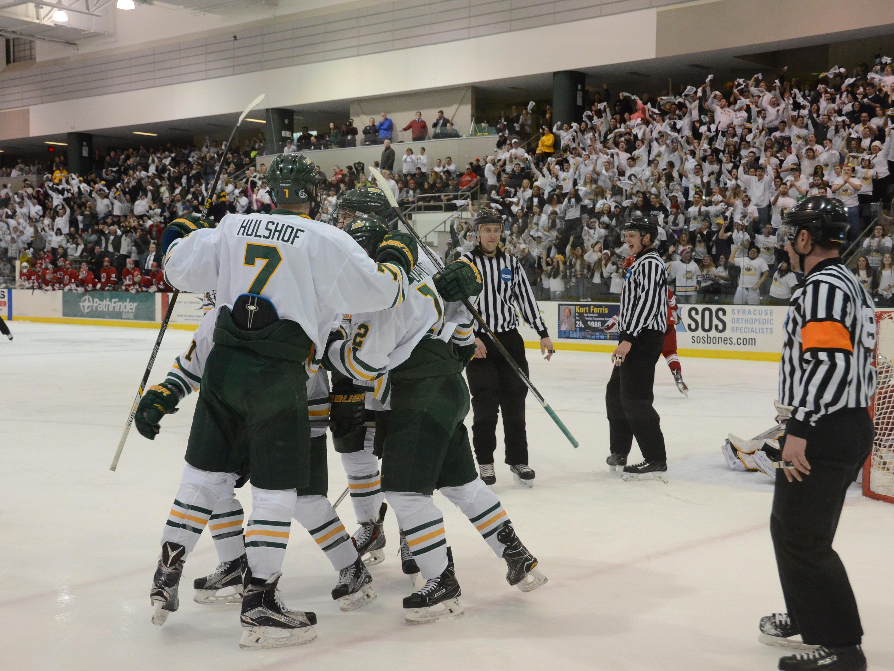 Men's hockey players celebrate goal