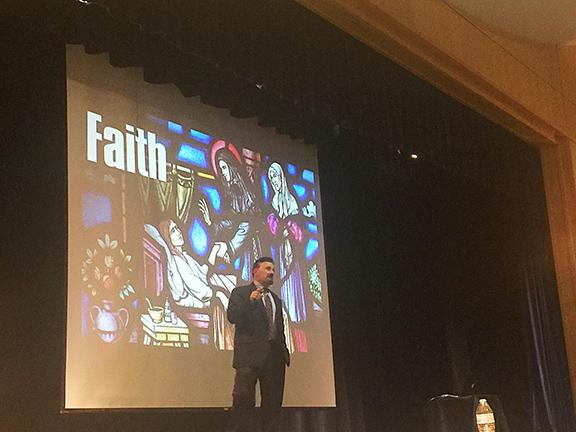 Frank DeAngelis, Columbine's former principal, speaks at national briefing; a slide behind him reads: faith