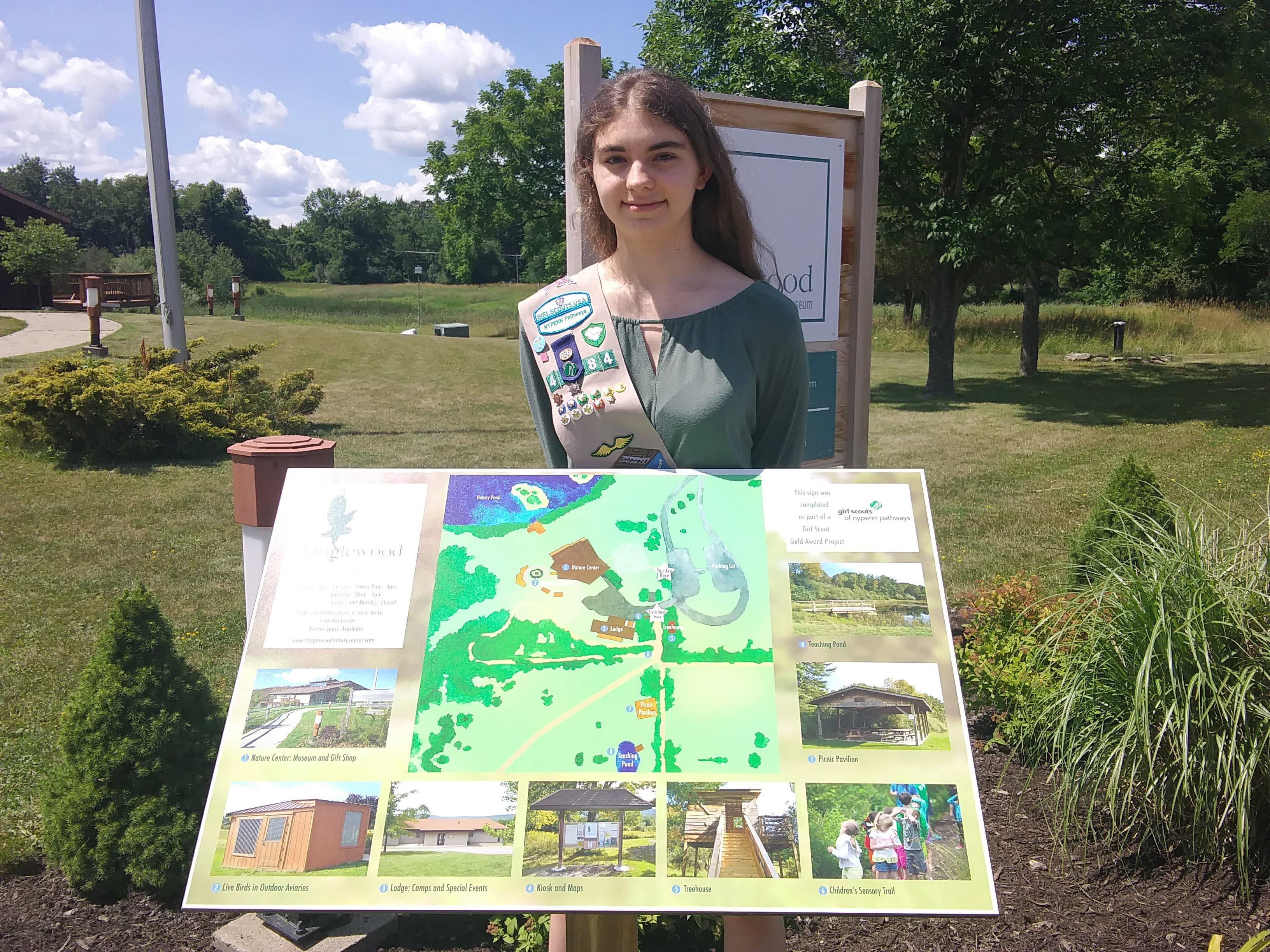 Genevieve Egan earned a Girl Scouts Gold Award for constructing a sign benefiting the Tanglewood Nature Center and Museum