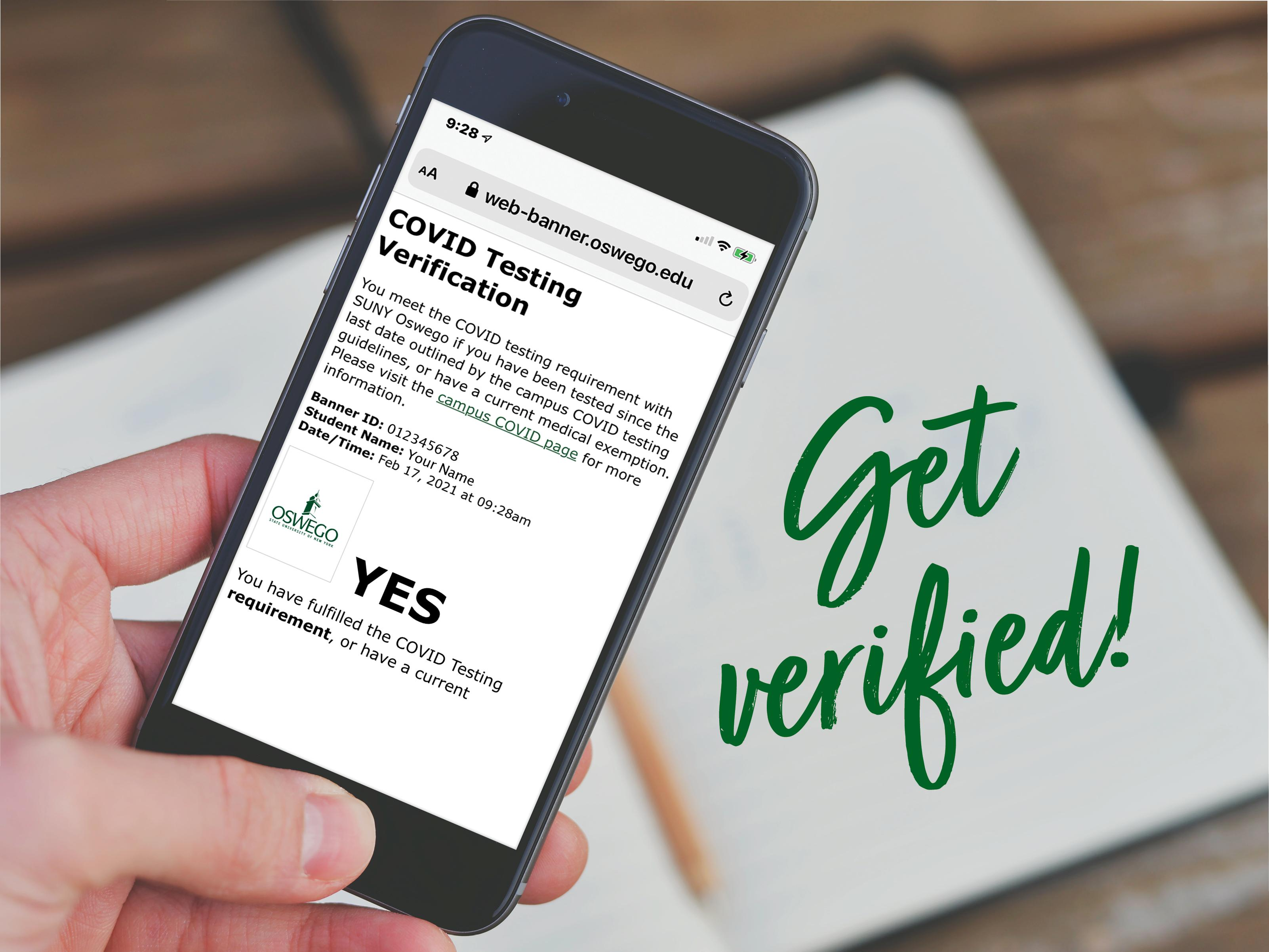 Image shows the verification notification on a smartphone with a Get Verified! reminder