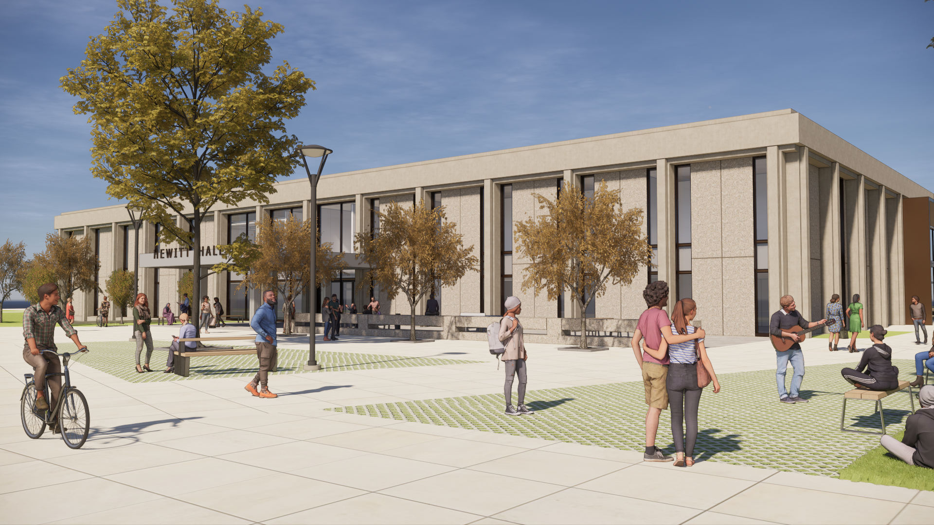Exterior Rendering of the future Hewitt Hall at SUNY Oswego