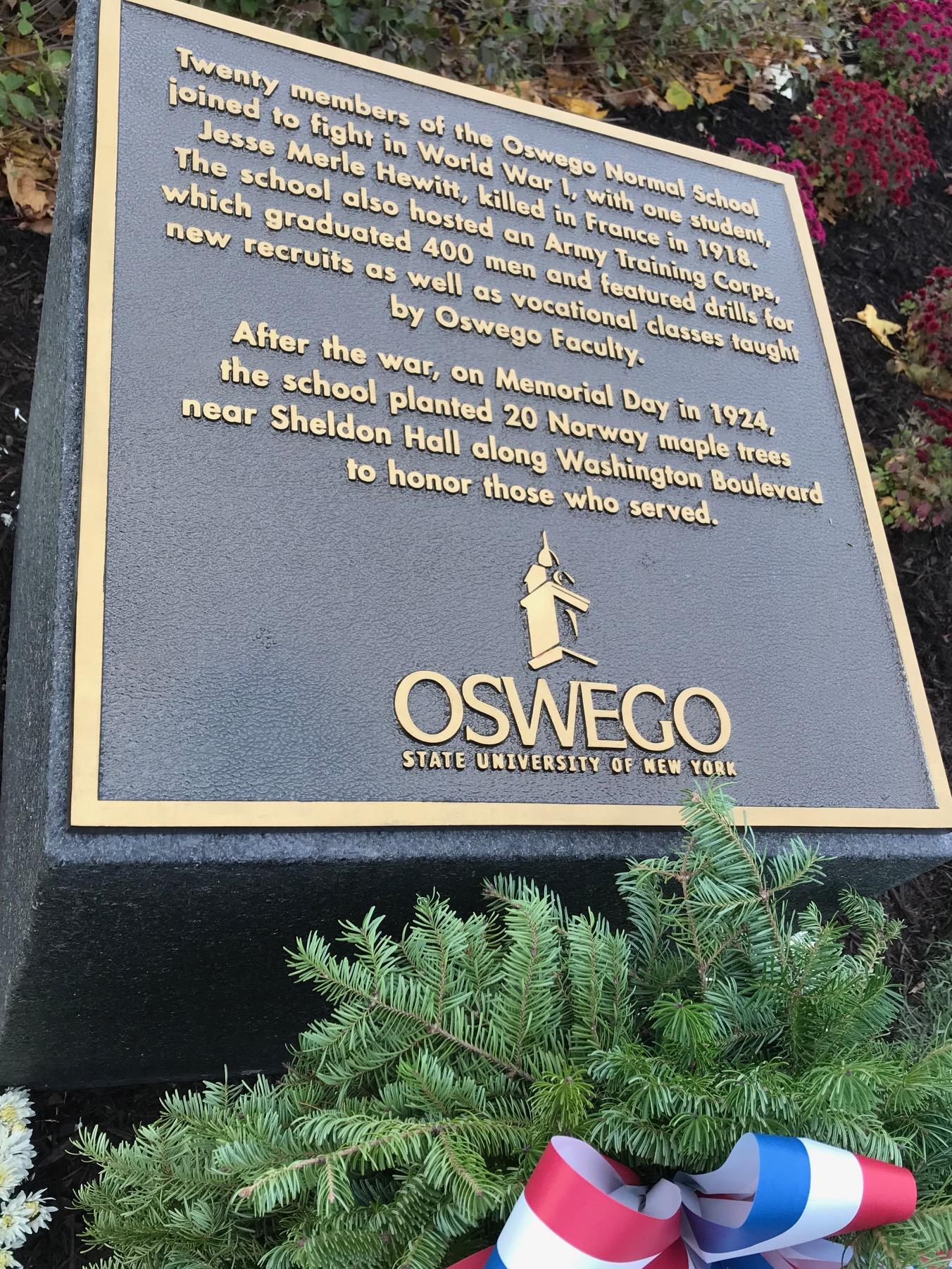 Plaque for World War I centennial -- text included above in story