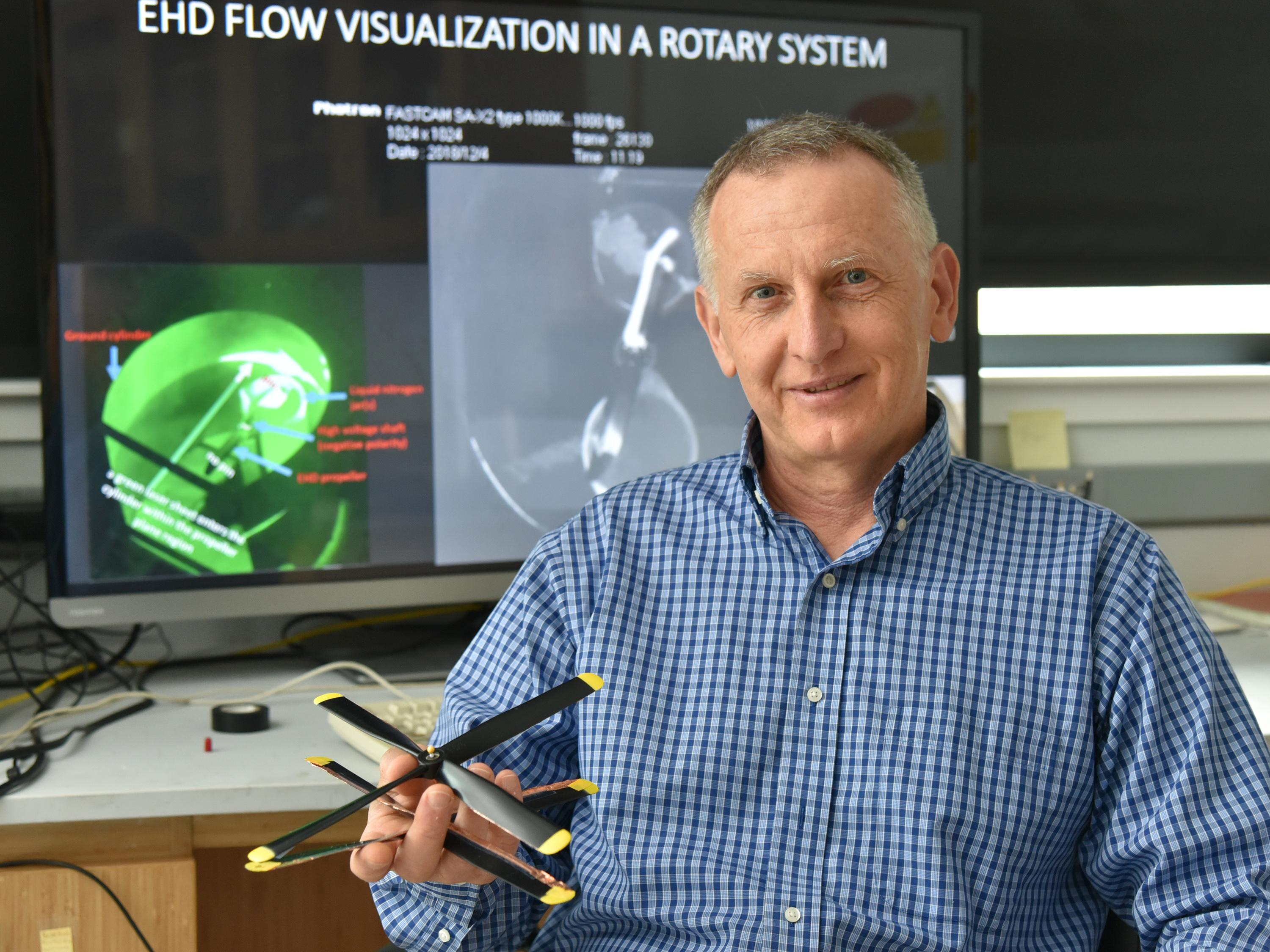 Adrian Ieta with rotors used in breakthrough in ionic wind technology