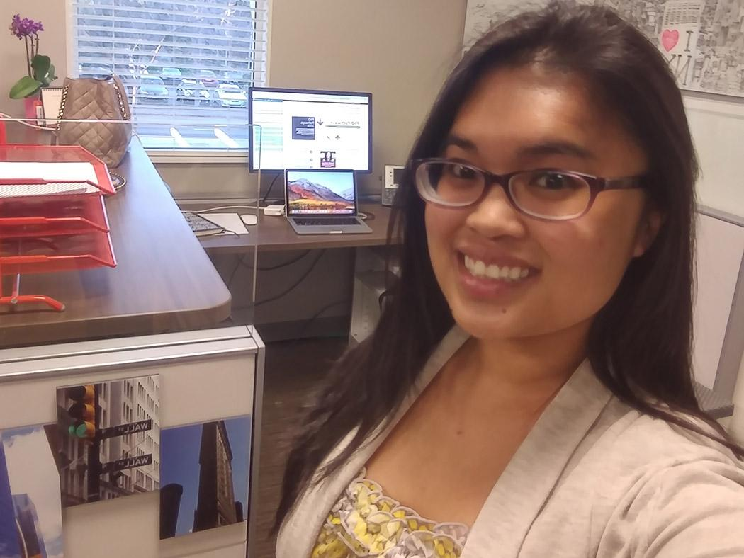 Jenny Roxas in her new office at Stanford University
