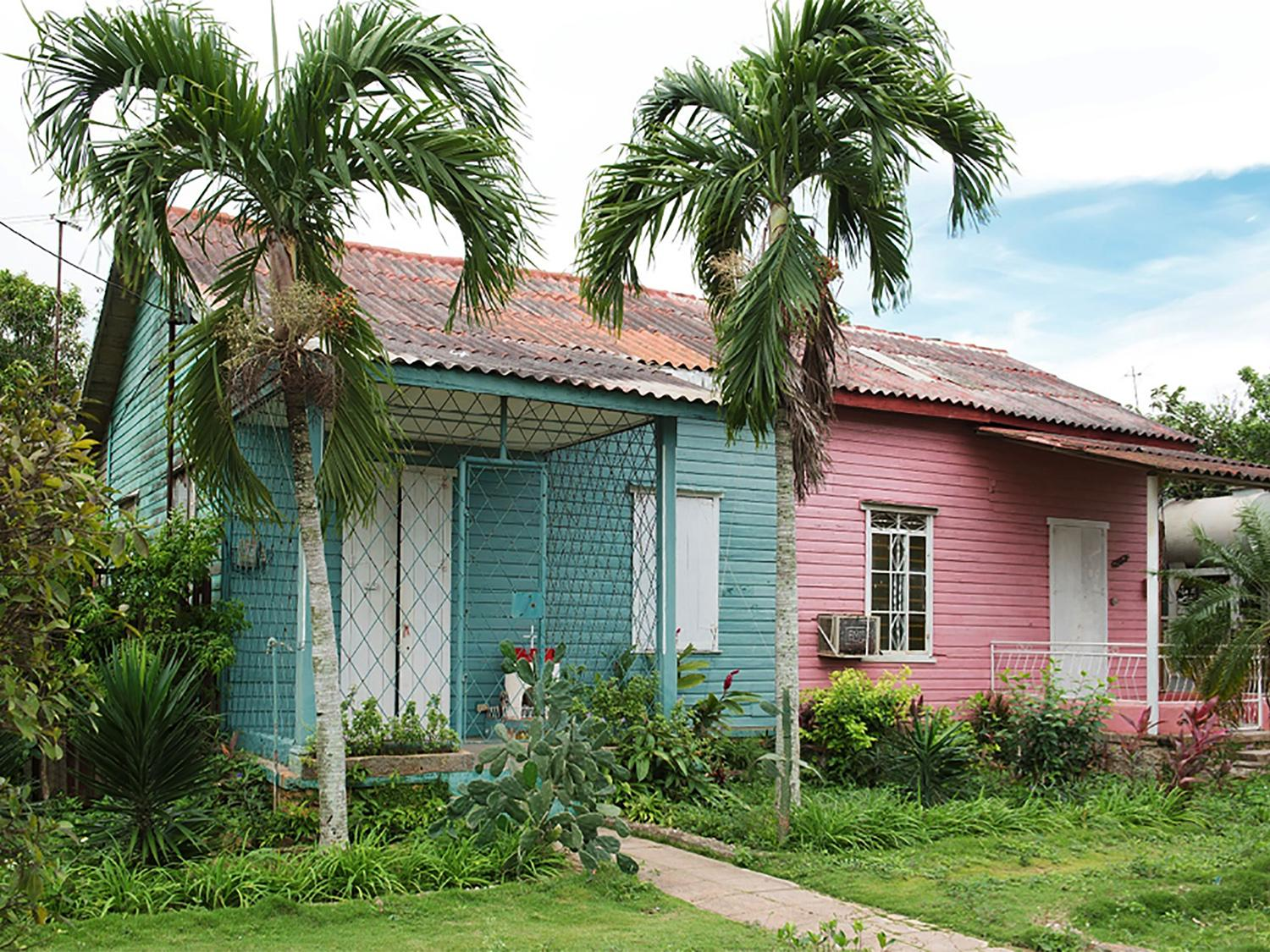 Vibrant colors decorate a building in Cuba