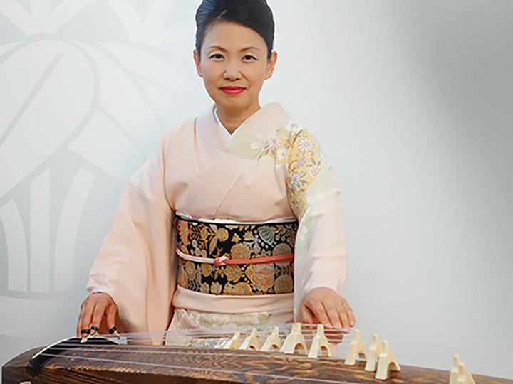 Musician Masayo Ishigur, virtuoso of the koto, a traditional Japanese instrument