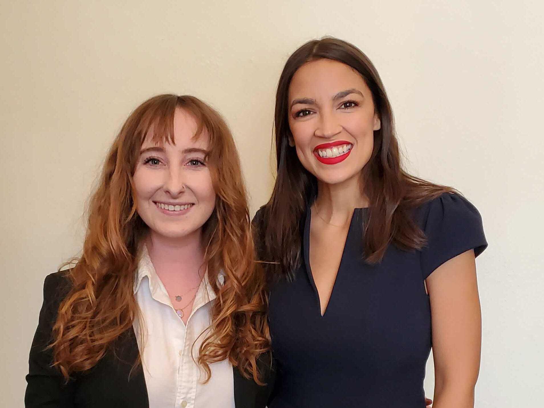 Lauren Fitzgerald during her internship with Alexandria Ocasio-Cortez