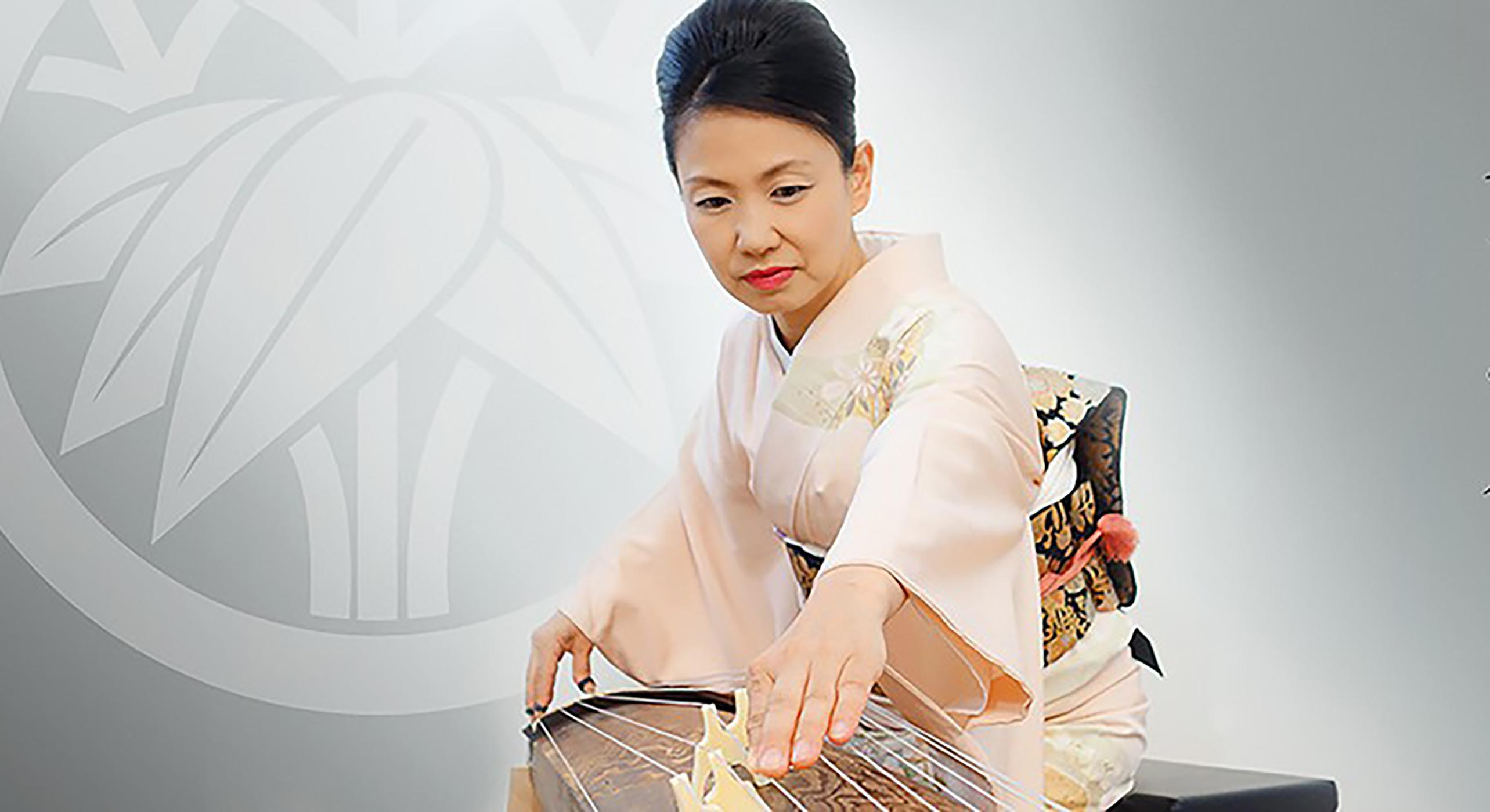 Masayo Ishigure plays a traditional Japanese horizontal harp or zither known as the koto