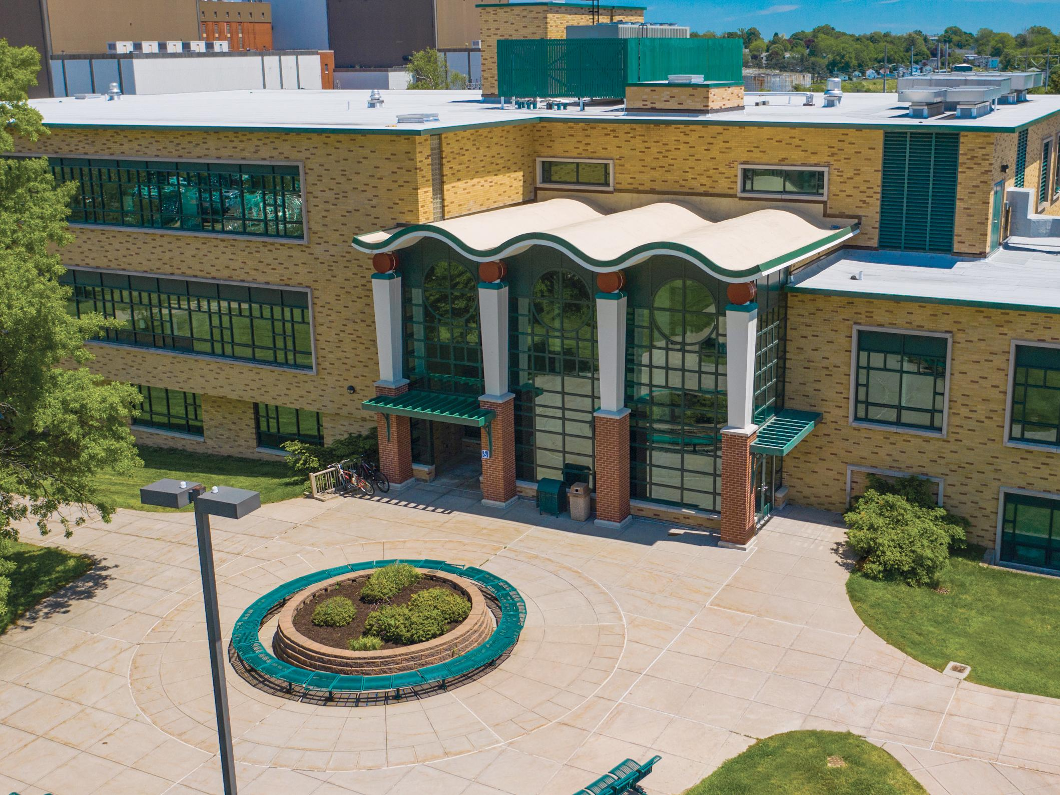 Aerial view of Rich Hall, home of the SUNY Oswego School of Business