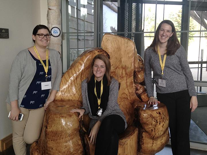 Group photo of three special education students who presented at conference