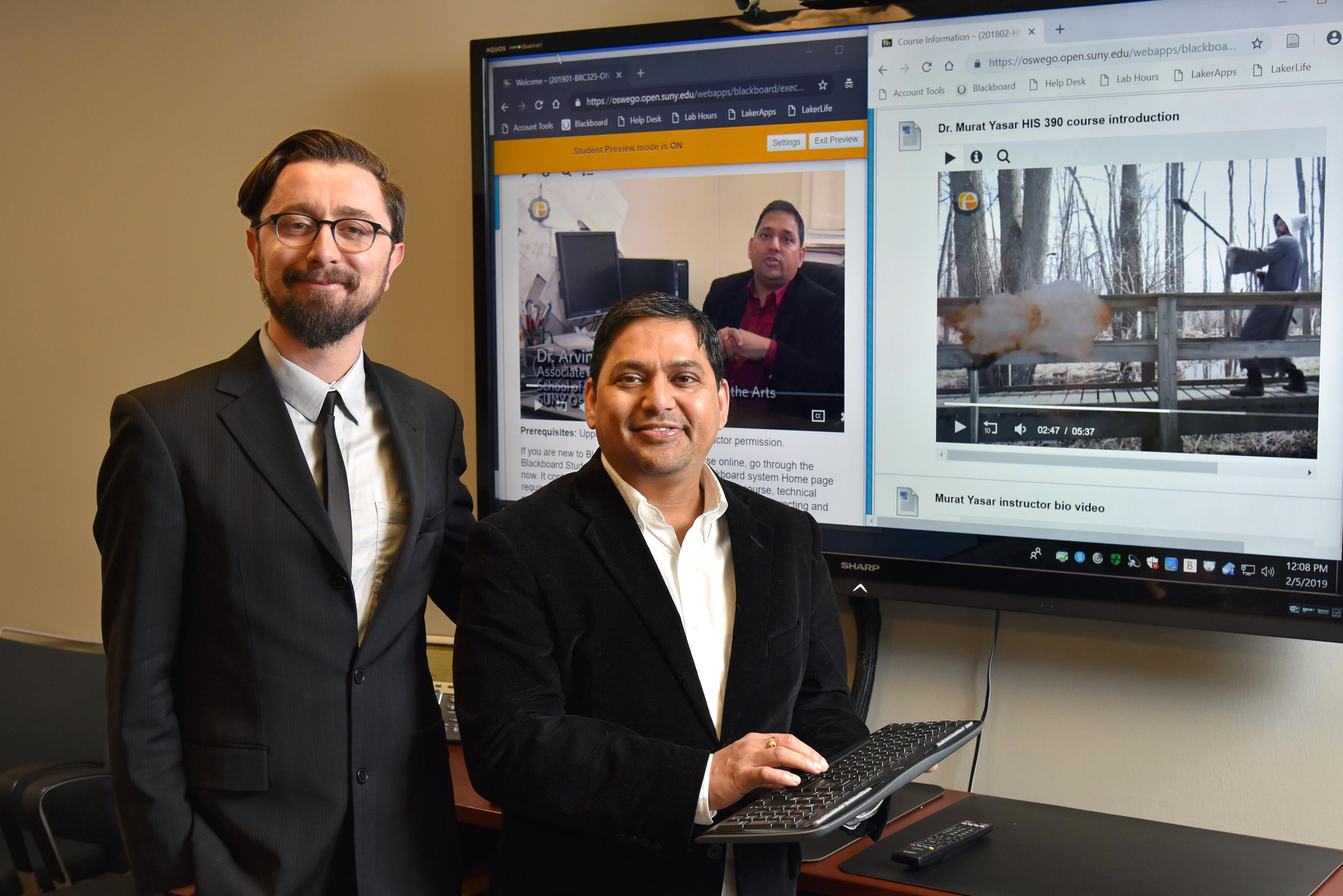 SUNY Oswego faculty Murat Yasar (left), in history, and Arvind Diddi, in communication studies, recently were named Open SUNY Online Teaching Ambassadors
