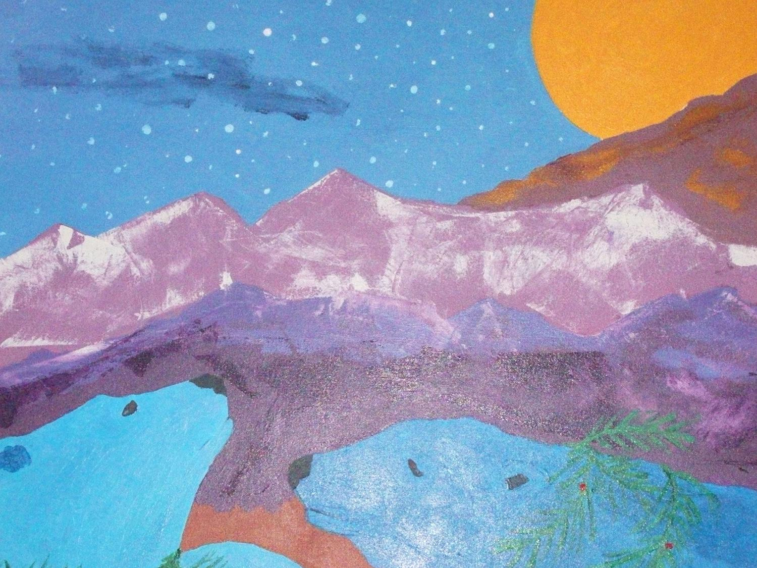 Painting showing a moon peeking over mountains