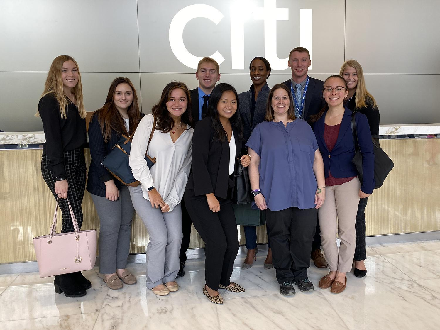 Oswego students getting a behind-the-scenes view of CitiGroup, thanks to an alumna