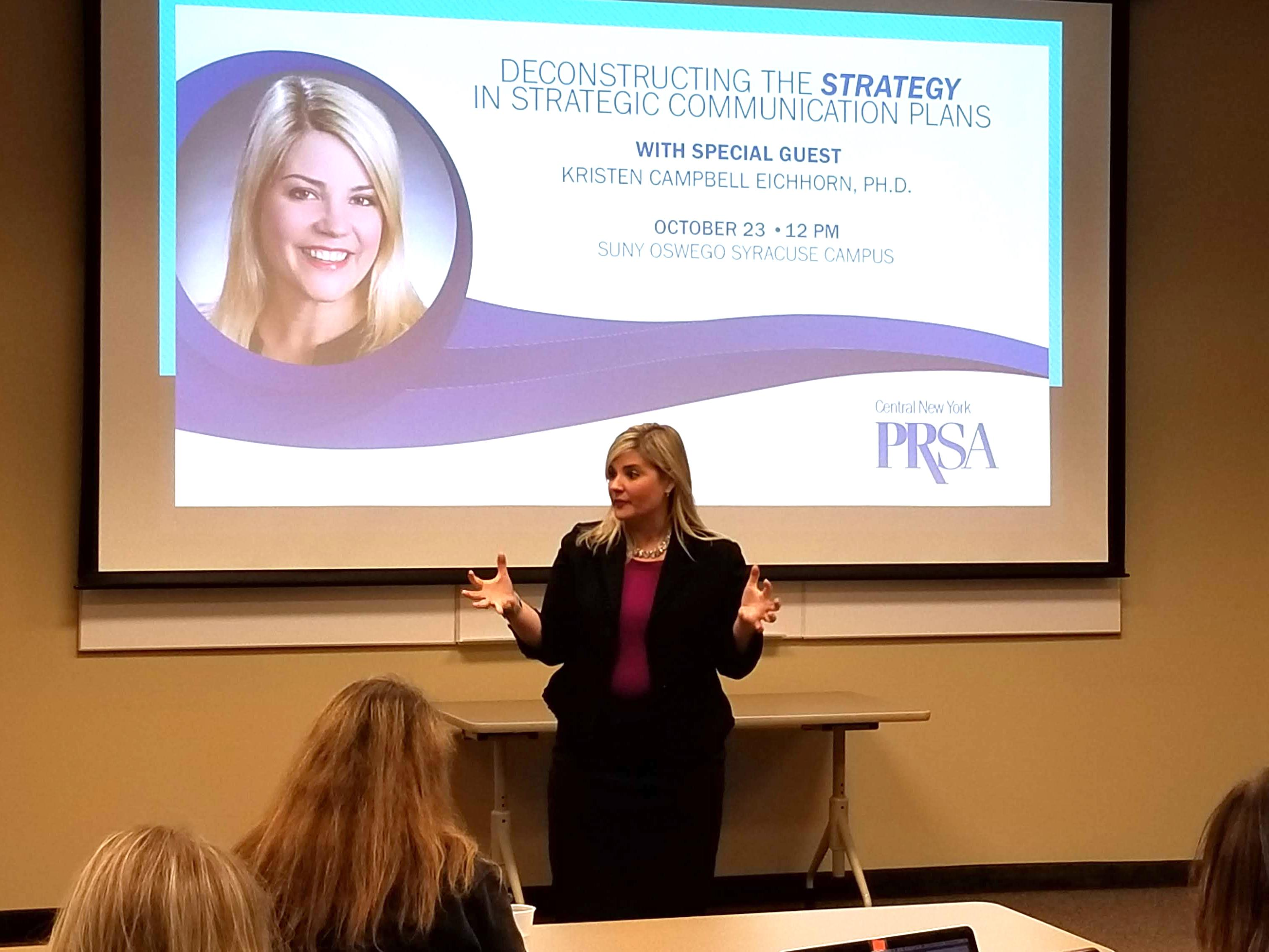 Graduate Dean Kristen Eichhorn presents to local chapter of Public Relations Society of America
