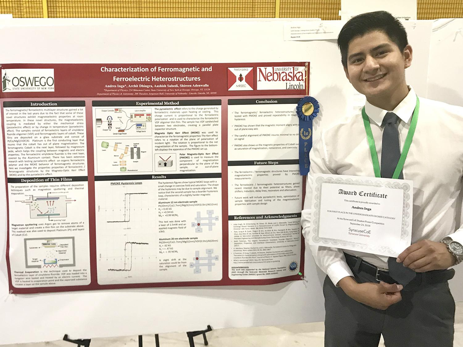 Andres Inga earned first place at the Syracuse Center of Excellence for his poster presentation
