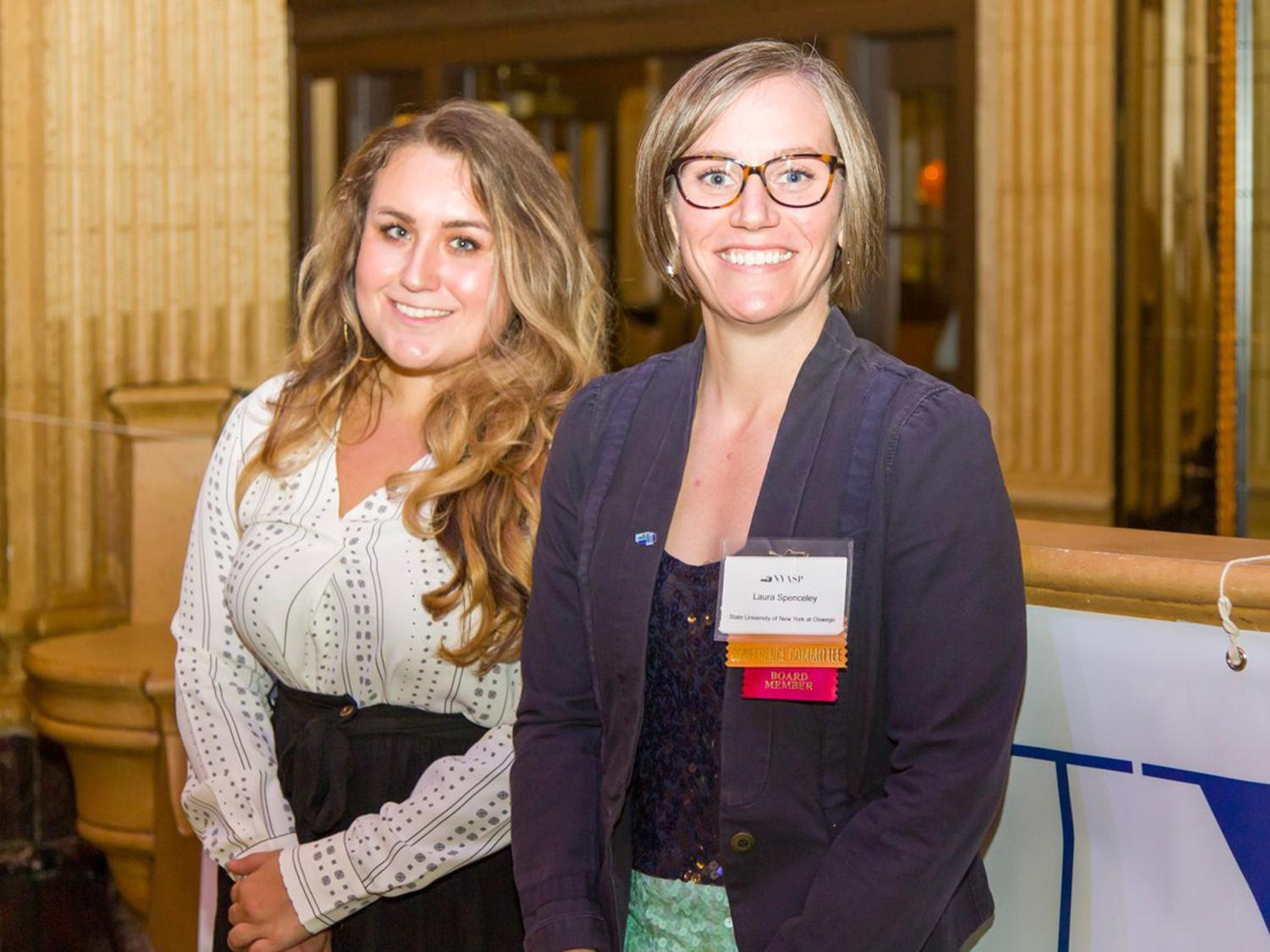 Laura Spenceley and Raychel Kramer, who both won awards at the New York Association of School Psychologists conference