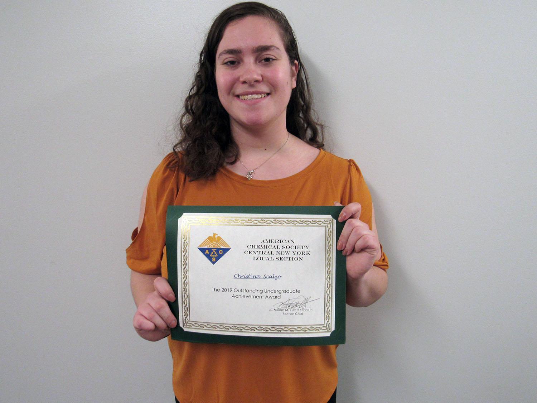Christina Scalzo earned a Central New York chemistry award