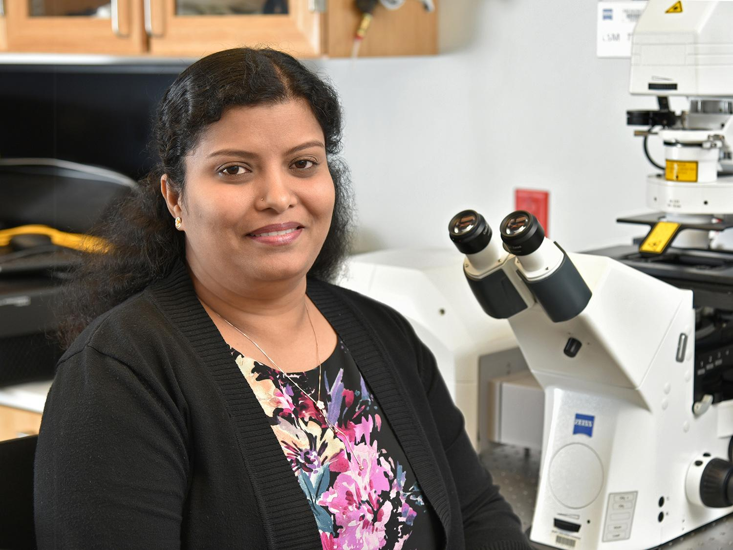 Poongodi Geetha-Loganathan, an award-winning member of biological sciences faculty, in a lab
