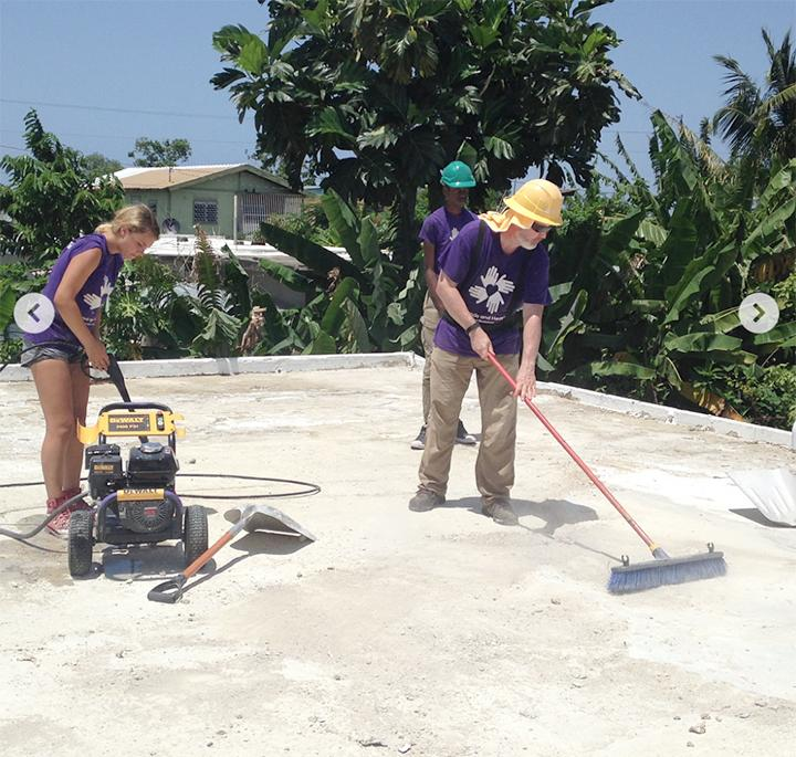 Volunteers working on a roof in Puerto Rico