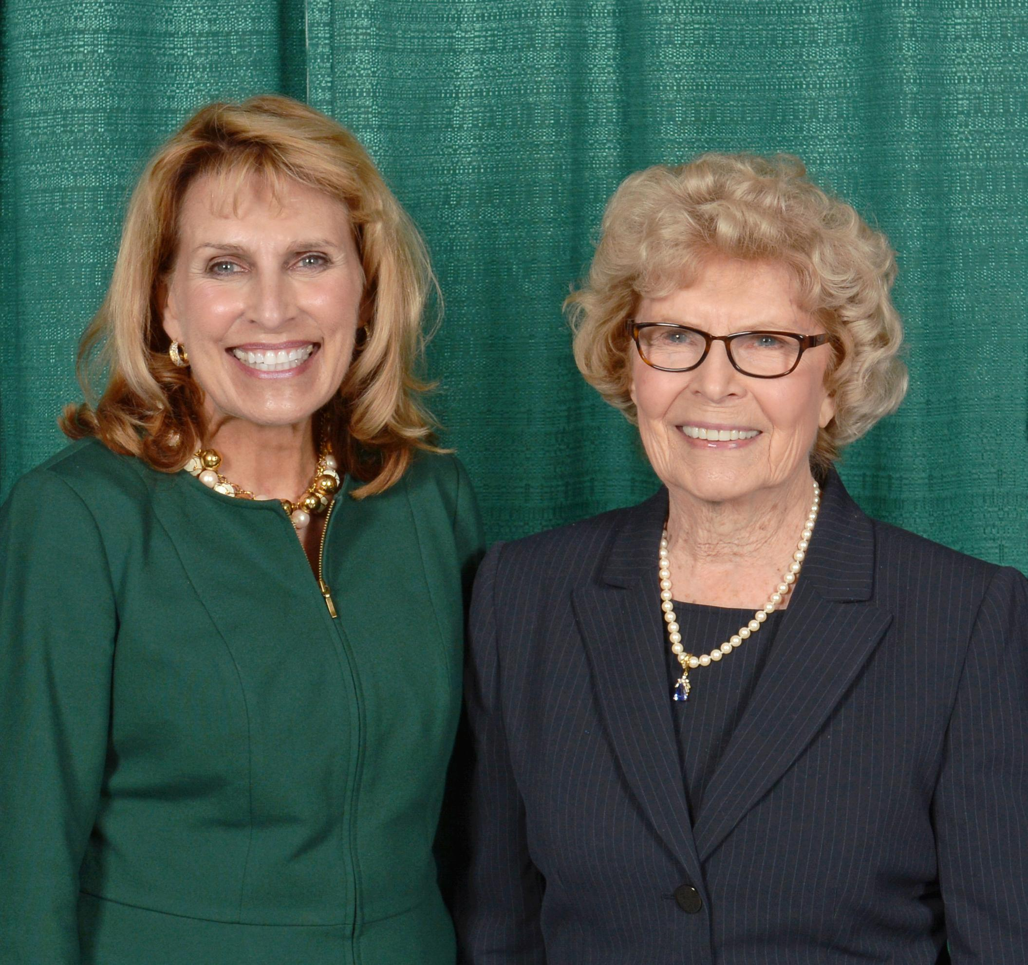 SUNY Oswego President Deborah F. Stanley and Dr. Barbara Shineman at the dedication on Oct. 4, 2013, of the Richard S. Shineman Center for Science, Engineering and Innovation.