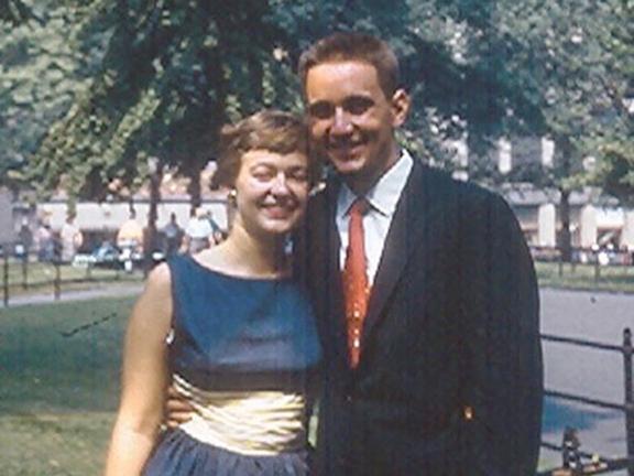 Eleanor Kaminski Pucciariello and Nick Pucciariello as newlyweds