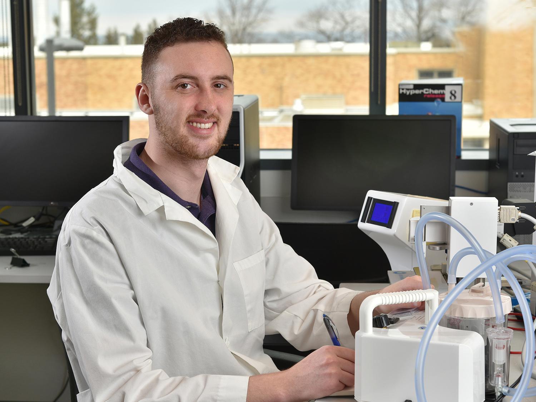 Dylan Richmond in a physics lab