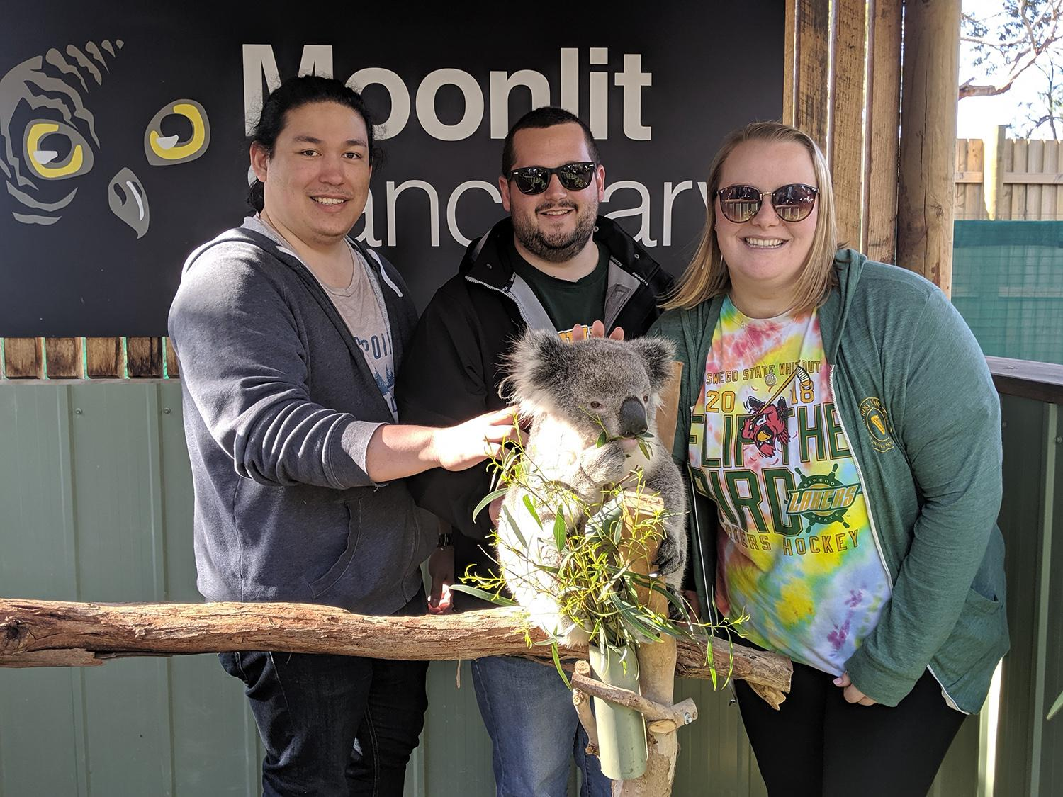Oswego students meet a koala at a wildlife sanctuary in Australia