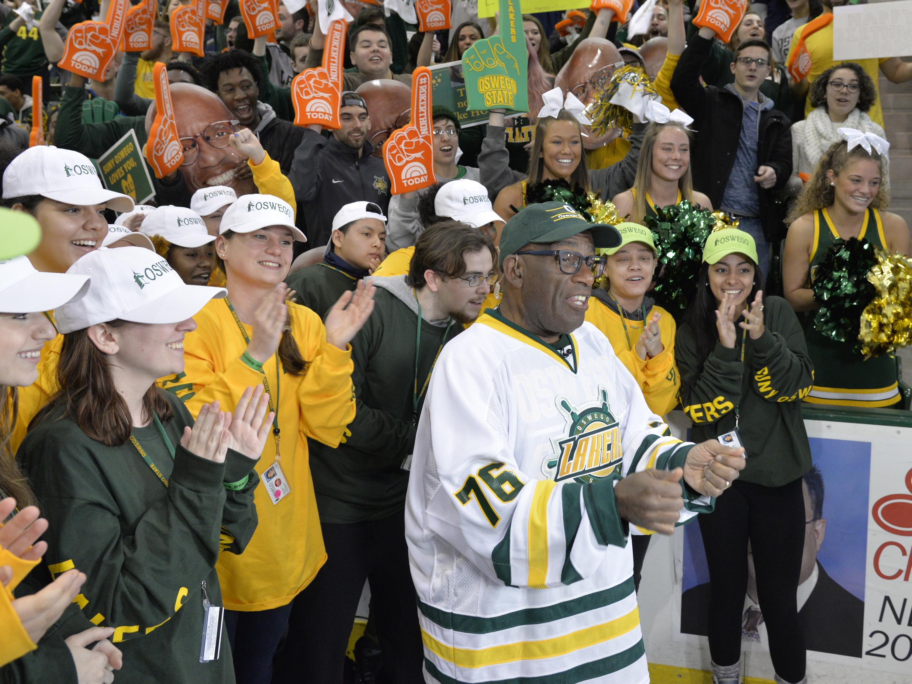 Al Roker broadcasts from his alma mater of SUNY Oswego during the 2017 Rokerthon