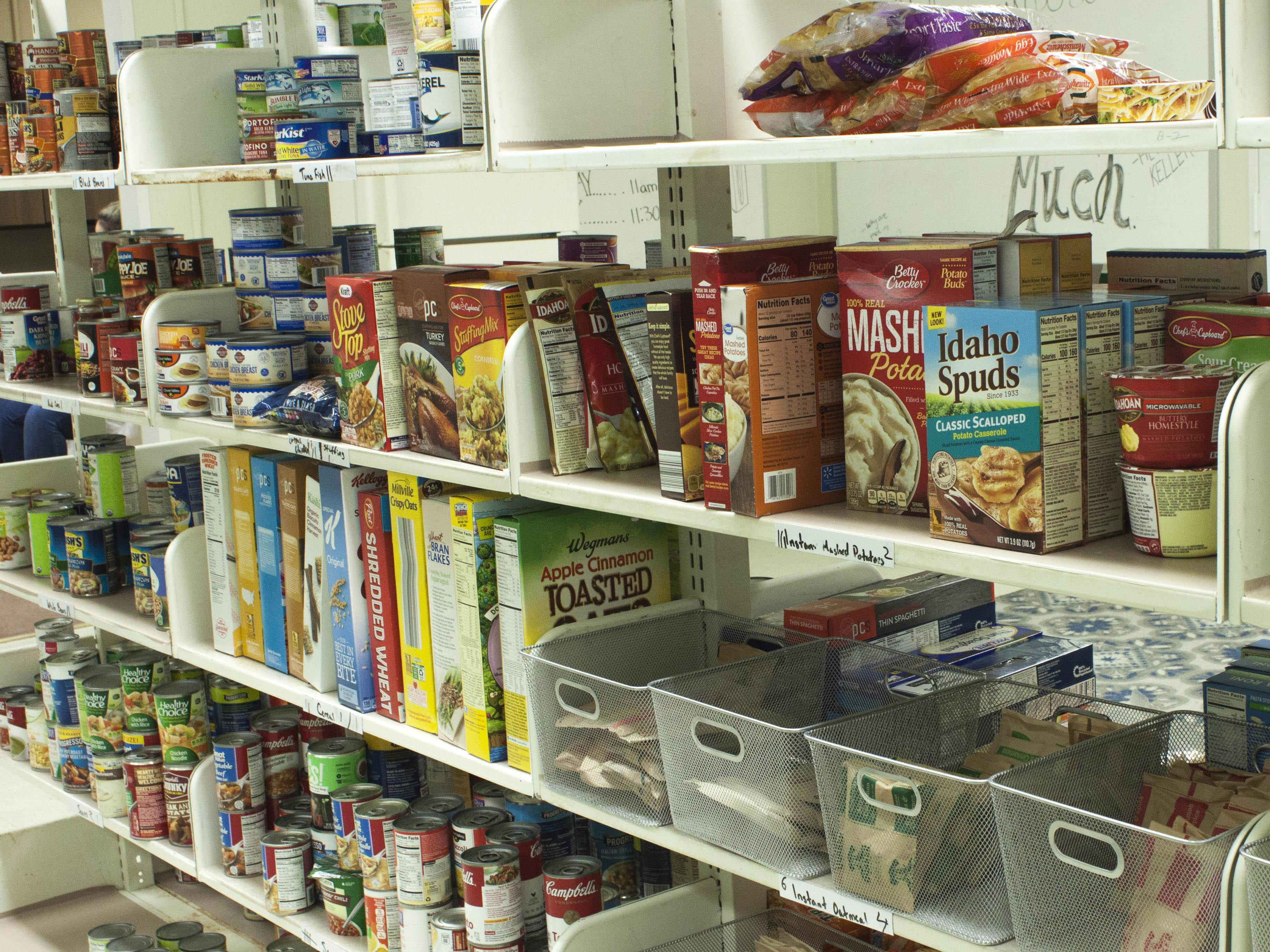 Food items on shelves in the SHOP pantry