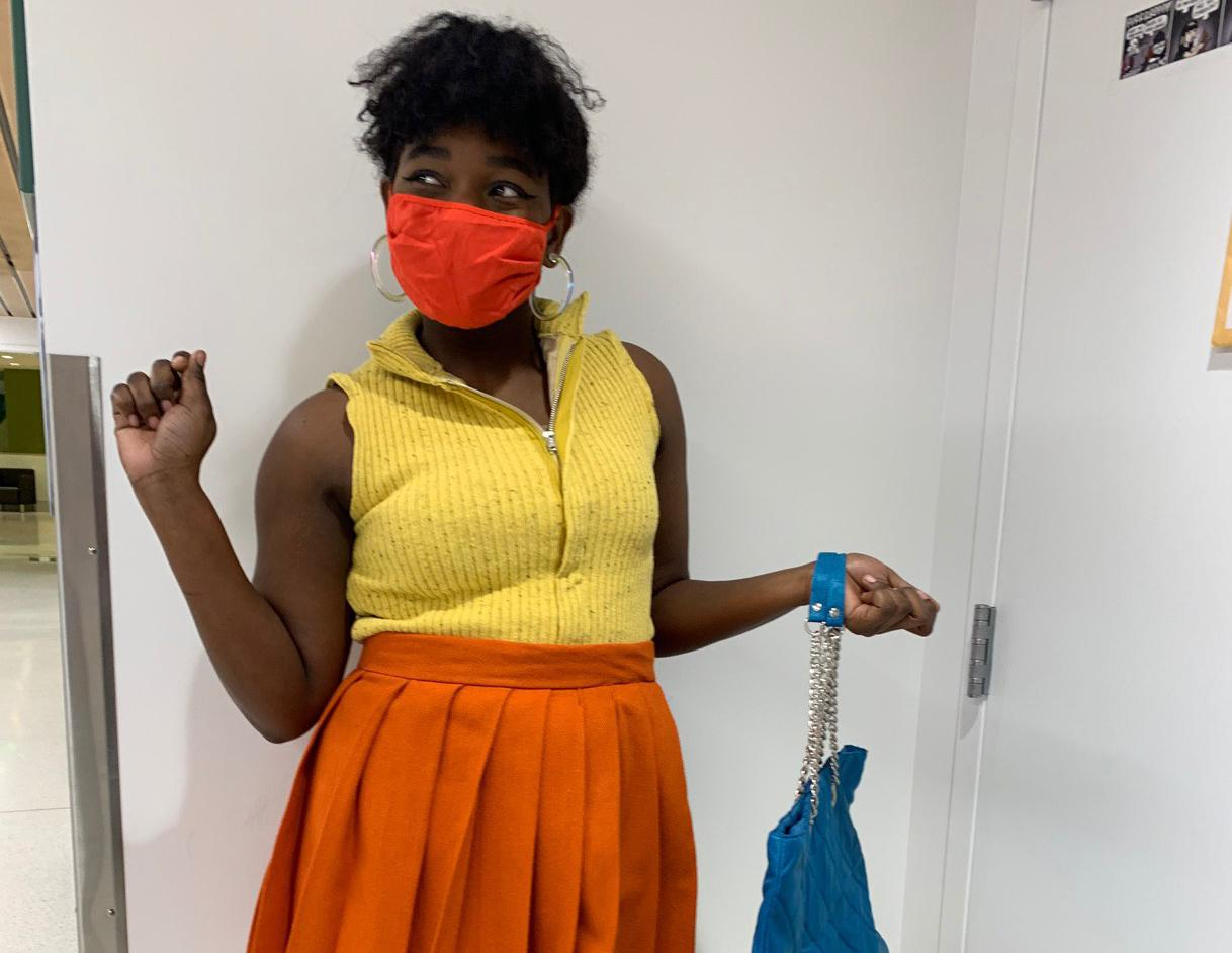 Sophomore theatre major Shy Sims, dressed as Marcy for the Blackfriars Student Production of Dog Sees God