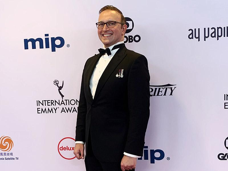 Dr. Stathis Kefallonitis on the red carpet at the 47th annual Emmy Awards.