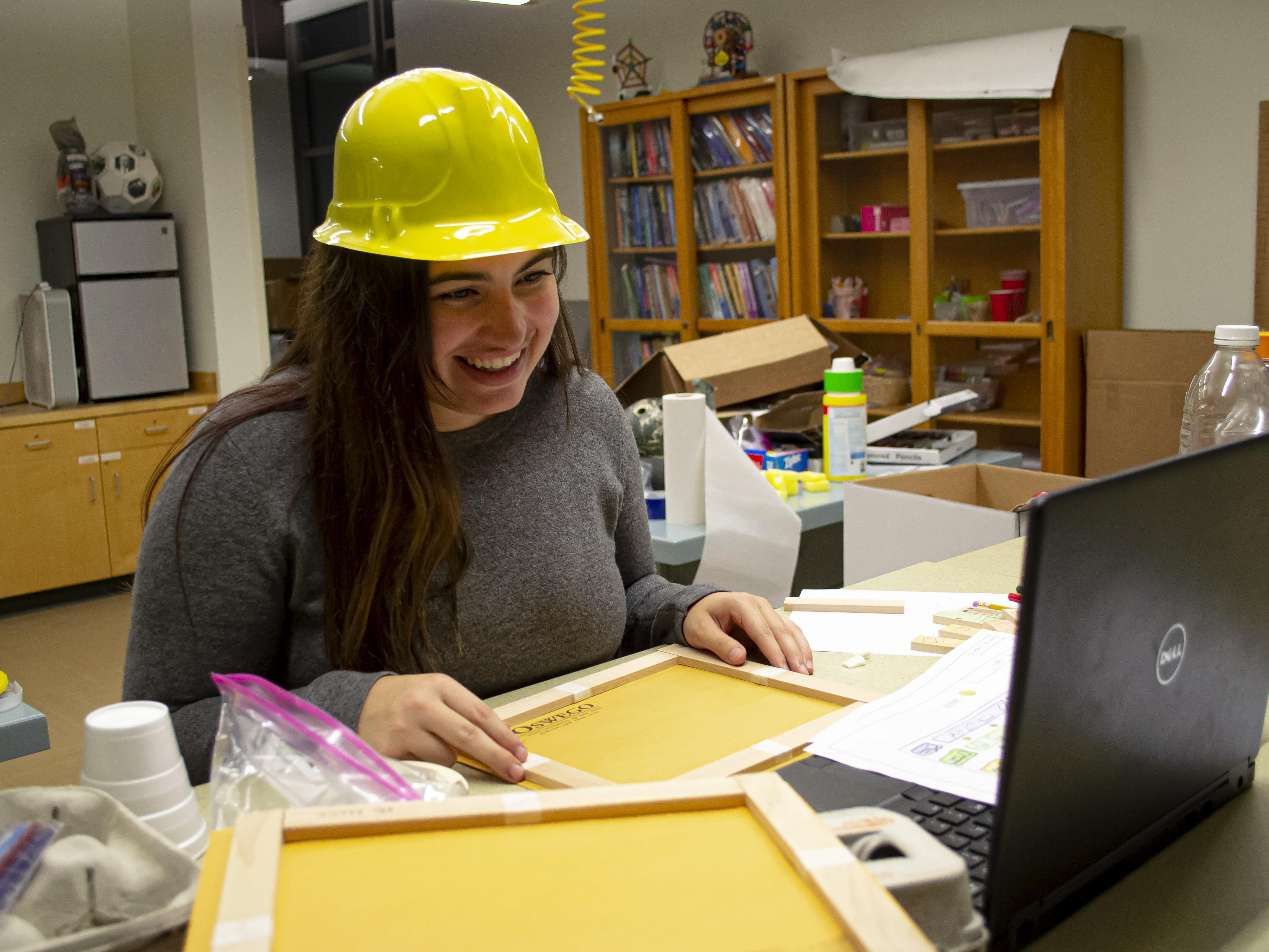 Senior technology education major Gabrielle Bloise delivers a STEM 4 Kids lesson