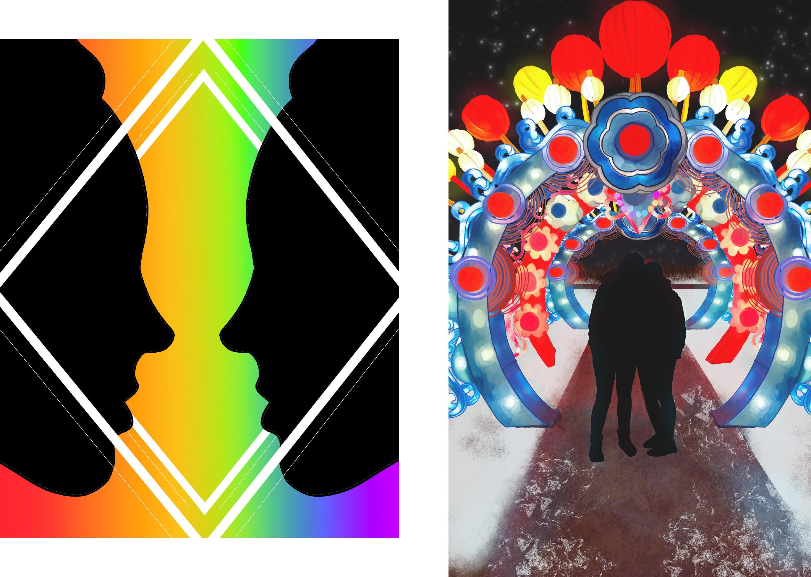 Artwork from two Oswego students -- Reflections on the left, Lanterns on the right -- that are part of SUNY Pride exhibition