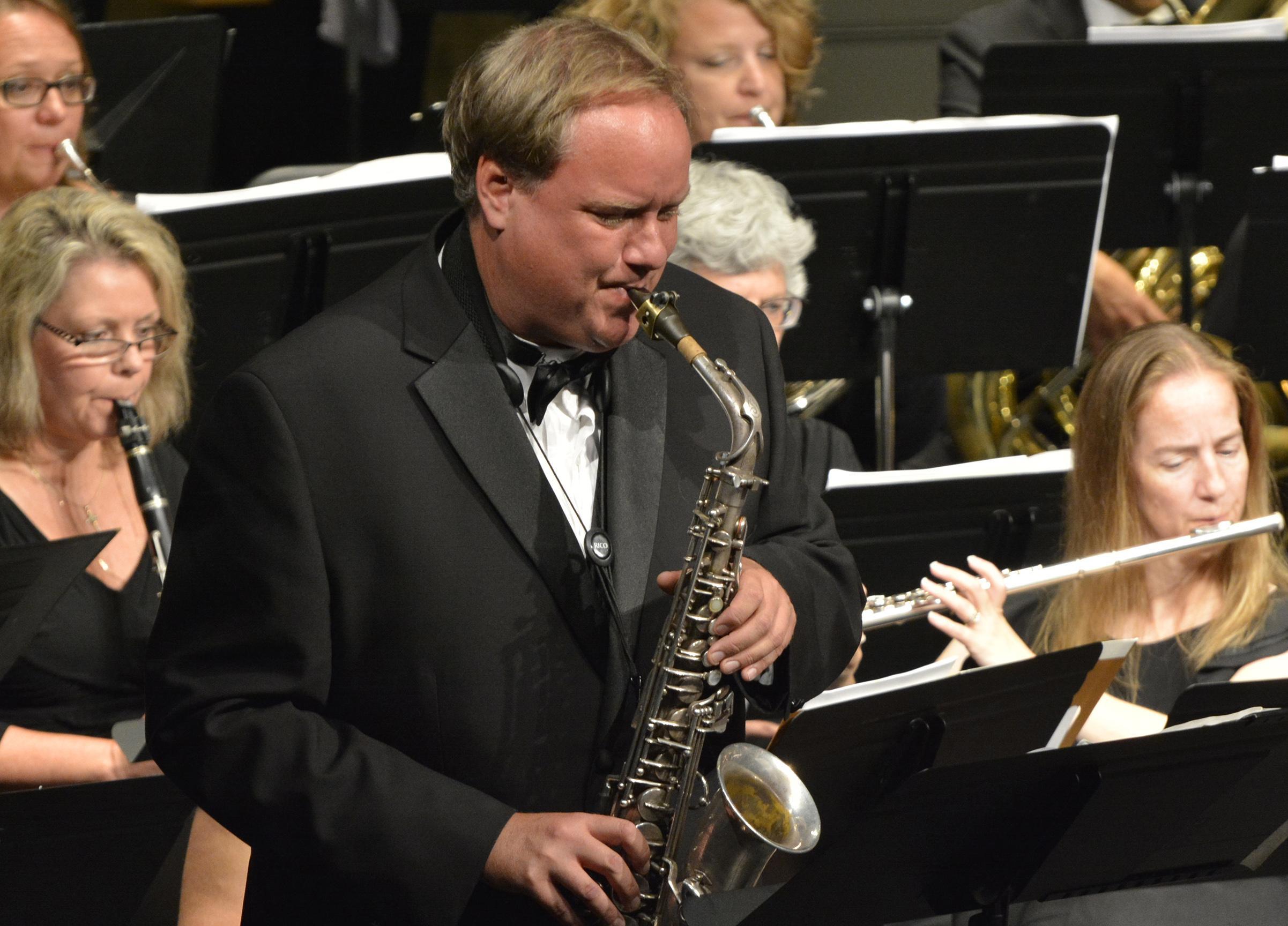 Trevor Jorgensen plays saxophone