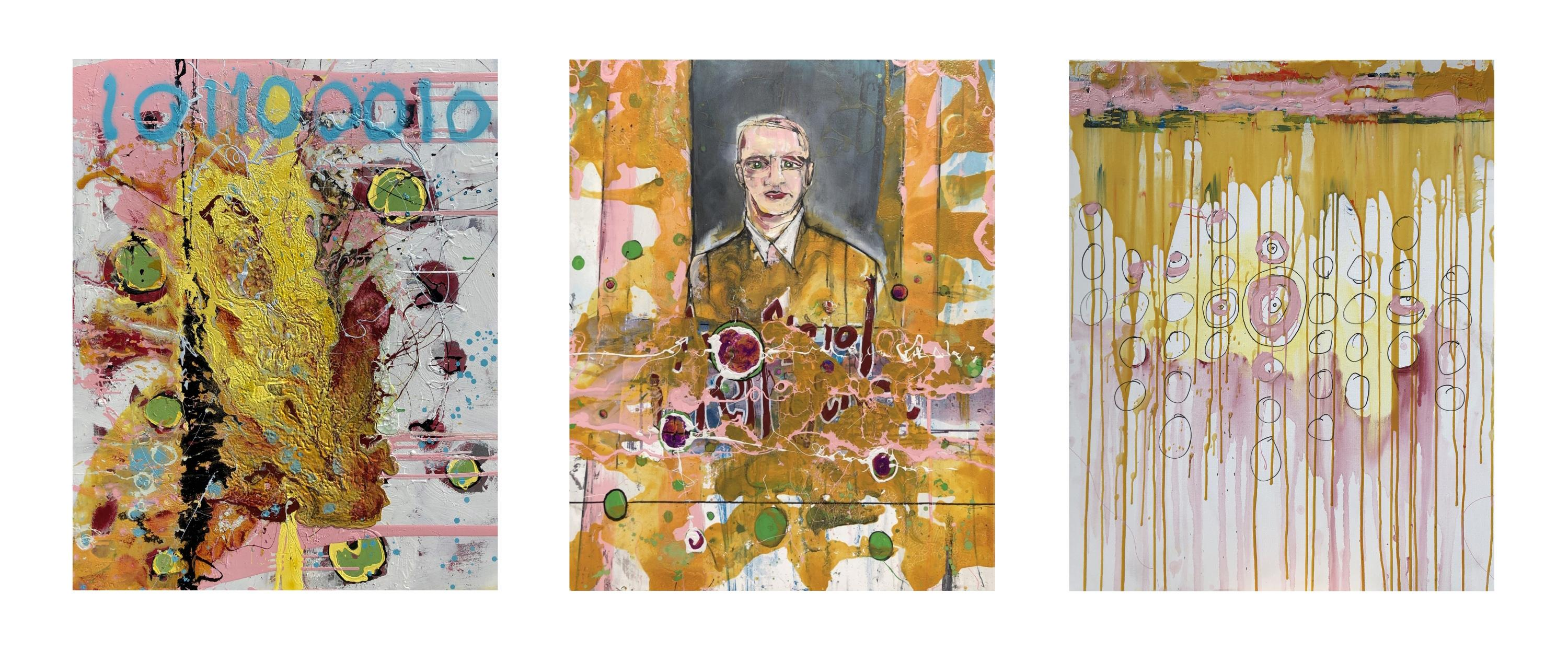 Triptych of paintings related to cybersecurity