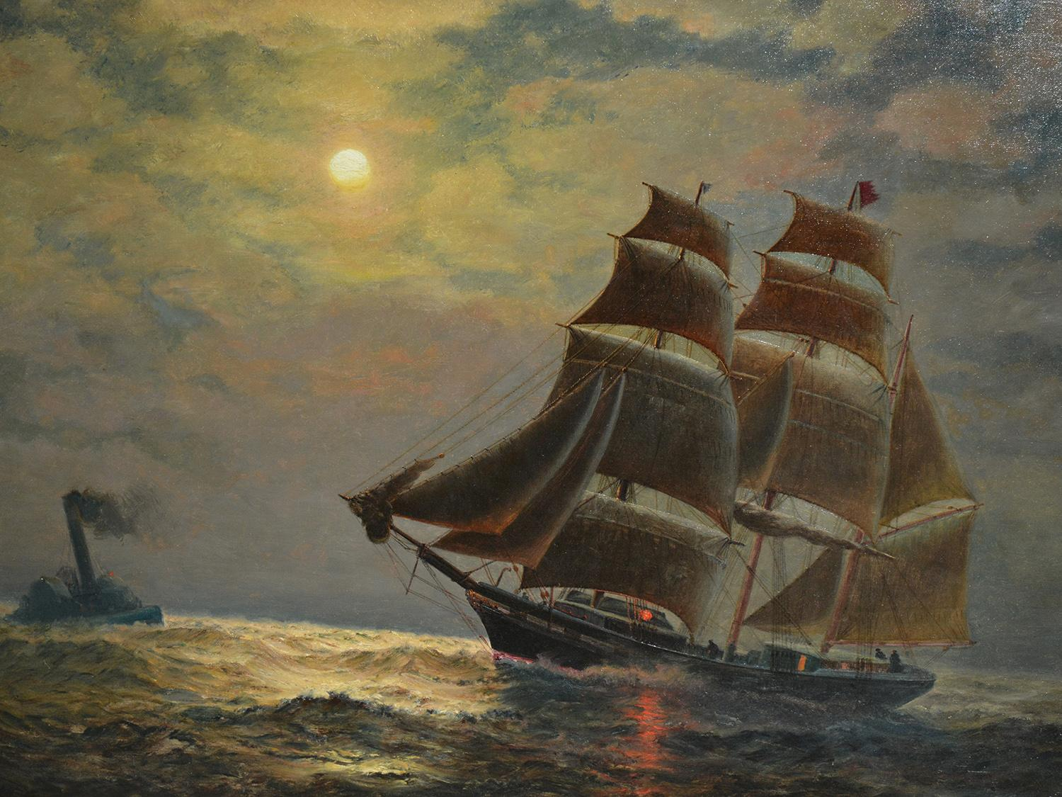Painting by James Gale Tyler of a three-masted ship